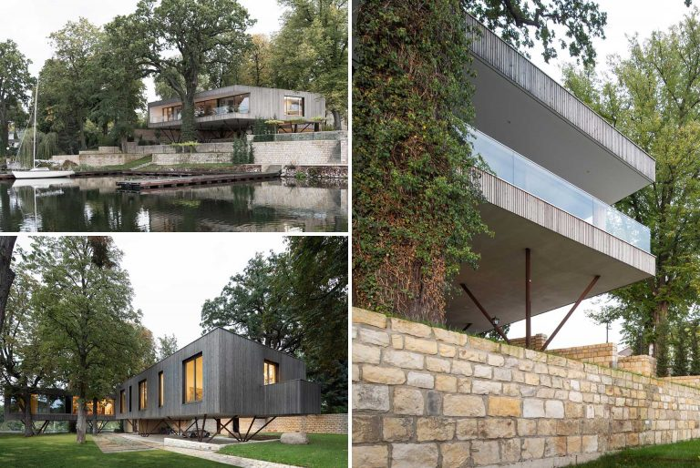 This Waterfront House Was Built On 40 Steel Posts To Respect The River And Surrounding Trees