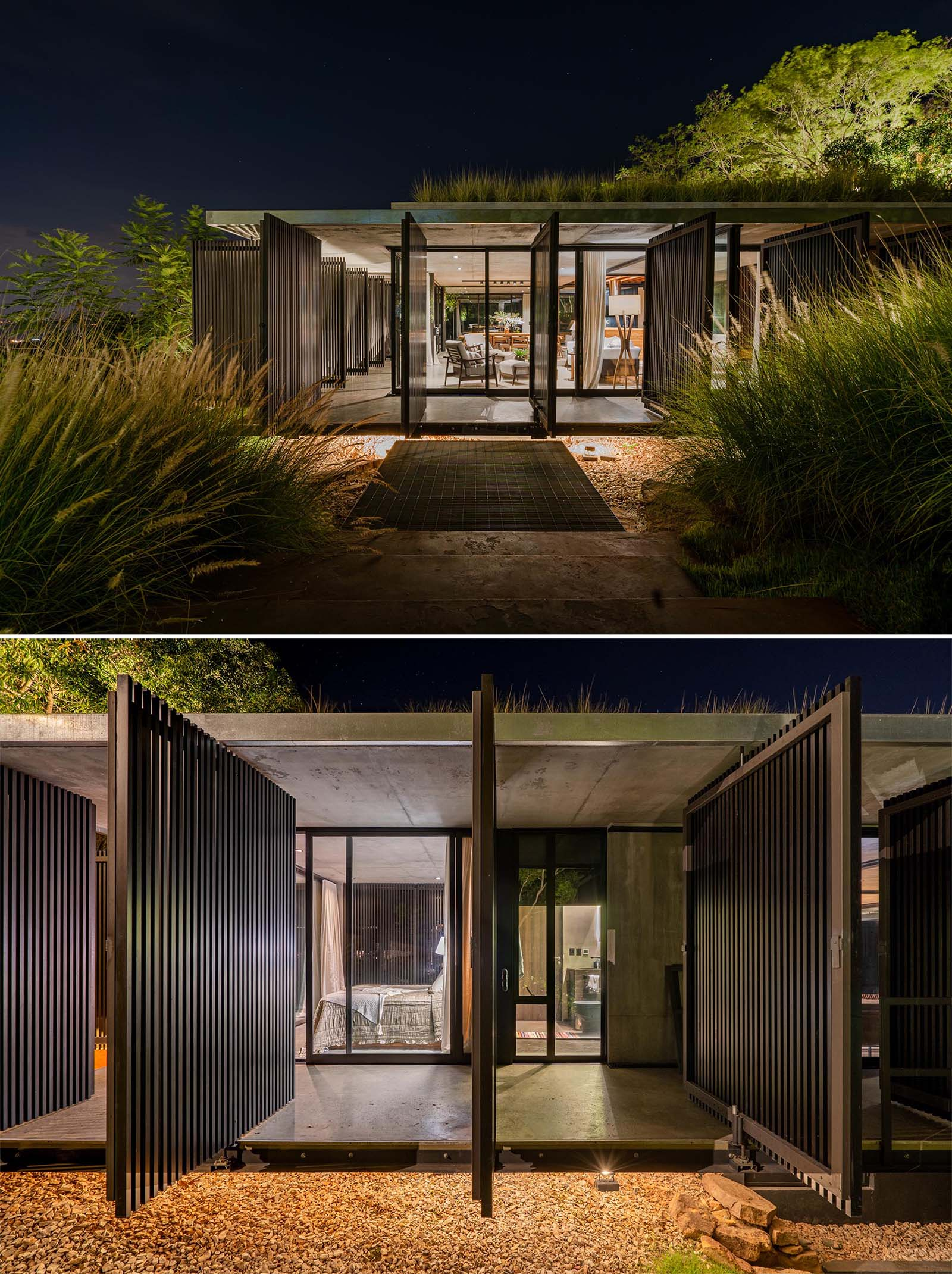 A modern house that pivoting screens on its exterior.