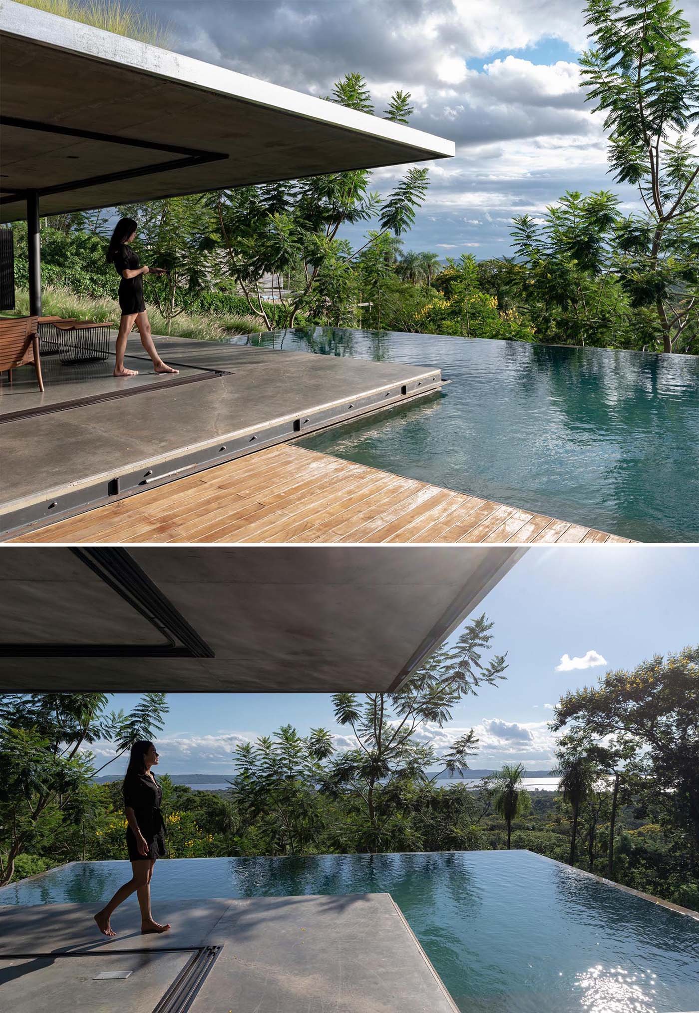 A modern house that has an infinity edge swimming pool that wraps around the corner.