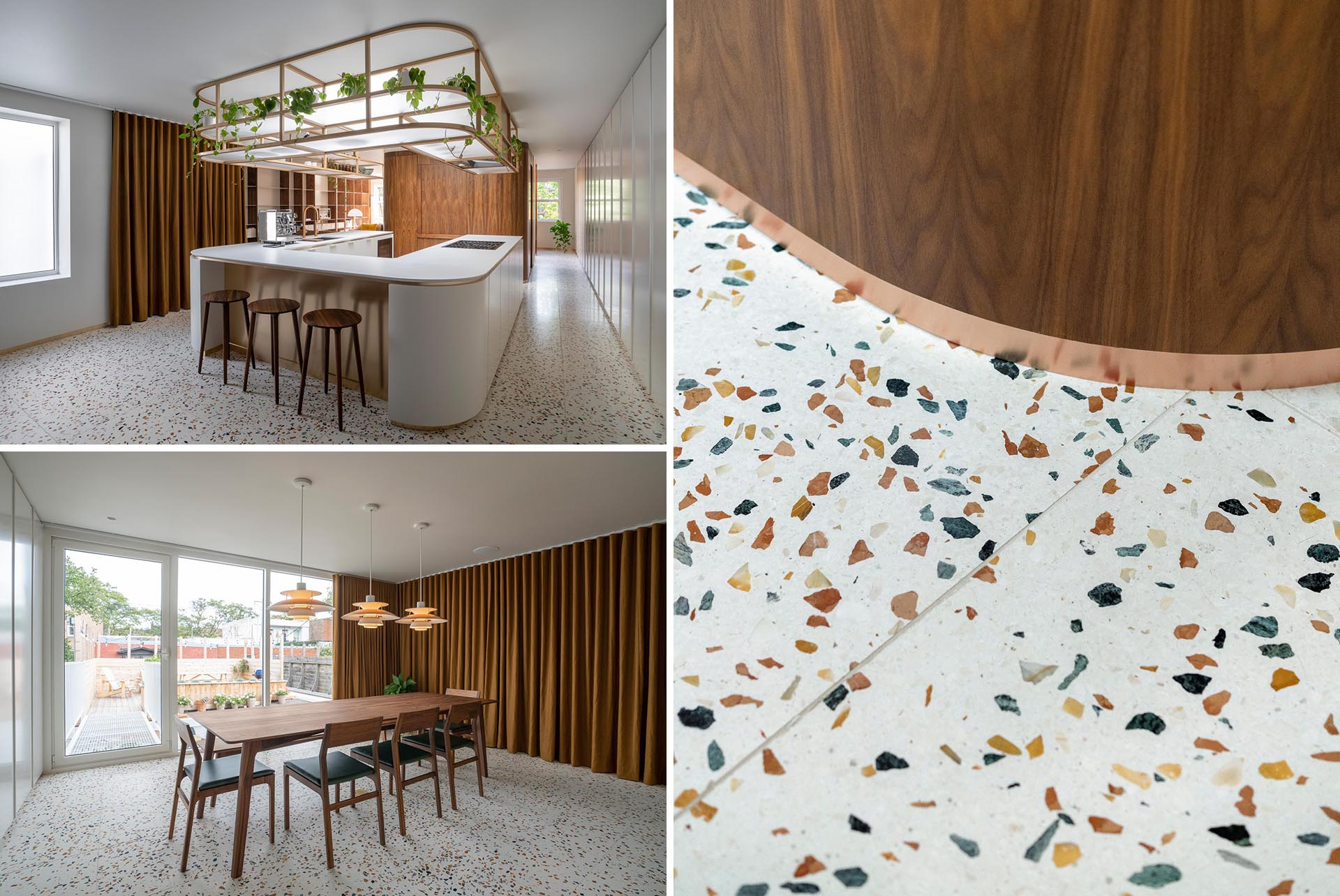 A modern interior with colorful terrazzo floors.