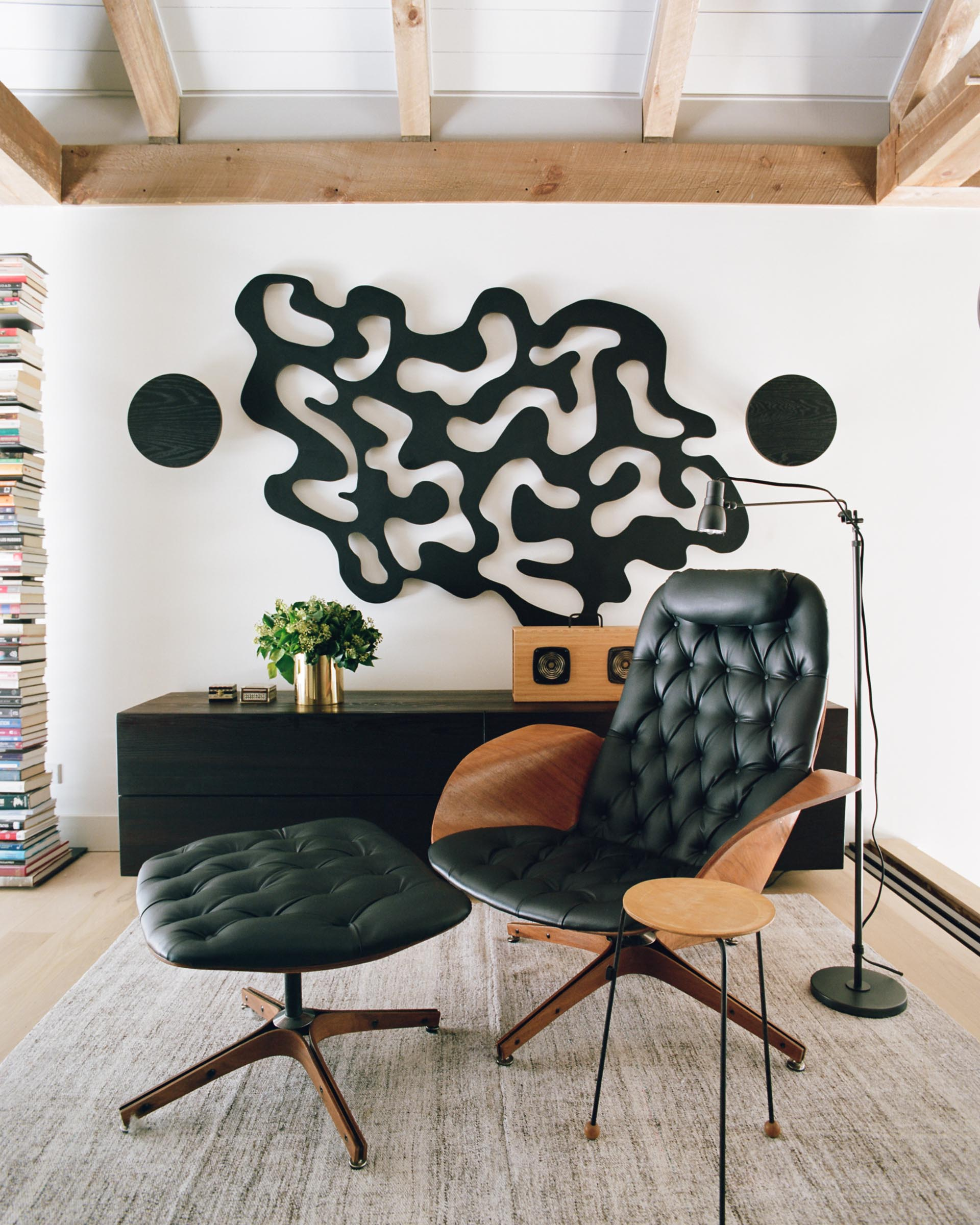 Vintage furnishings within a barn-inspired home.
