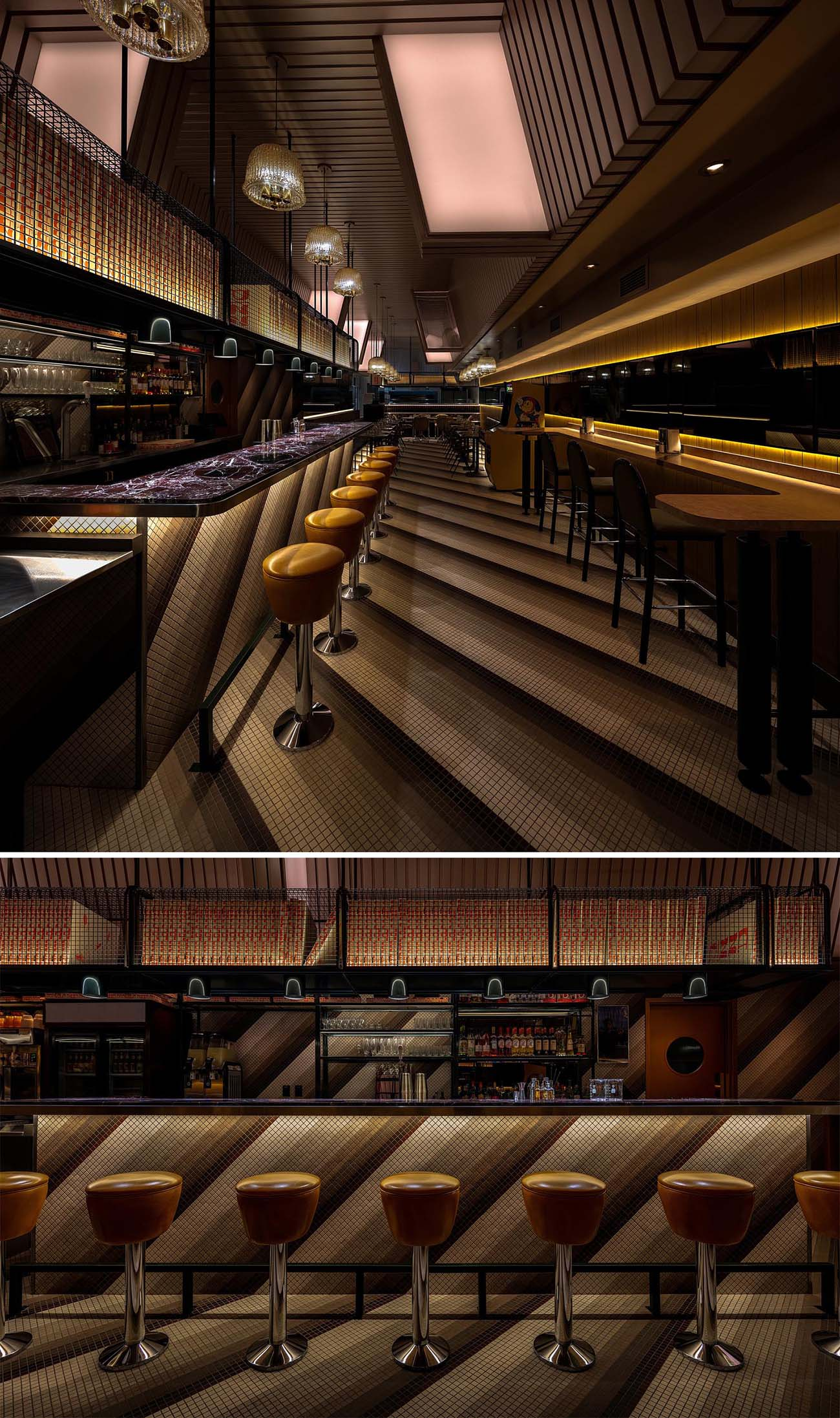 Key to the interior design of this modern restaurant is a continuous diagonal tile pattern that covers the floors, the walls, and the bar.