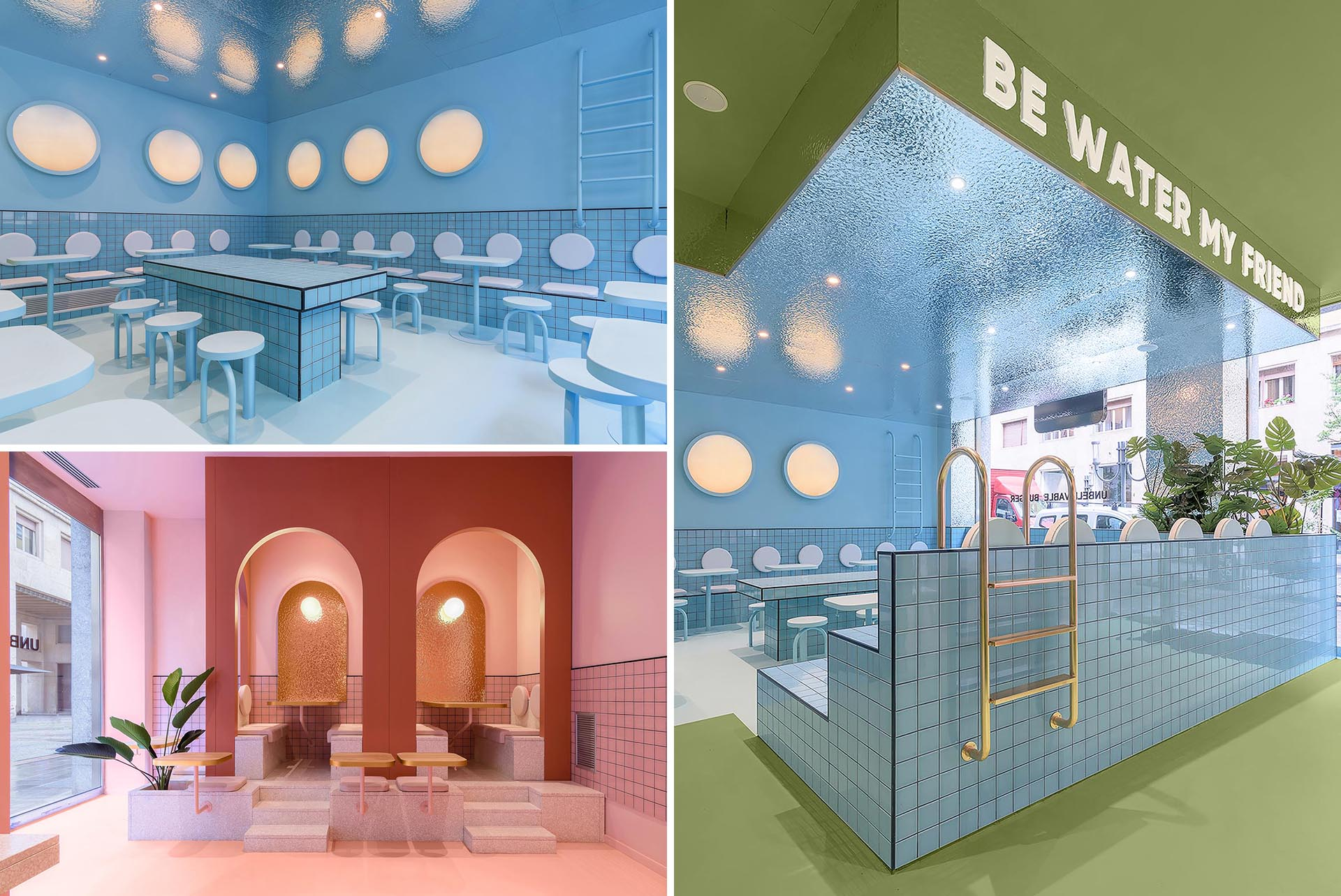 A modern restaurant interior with three color zones and inspirations from a swimming pool.