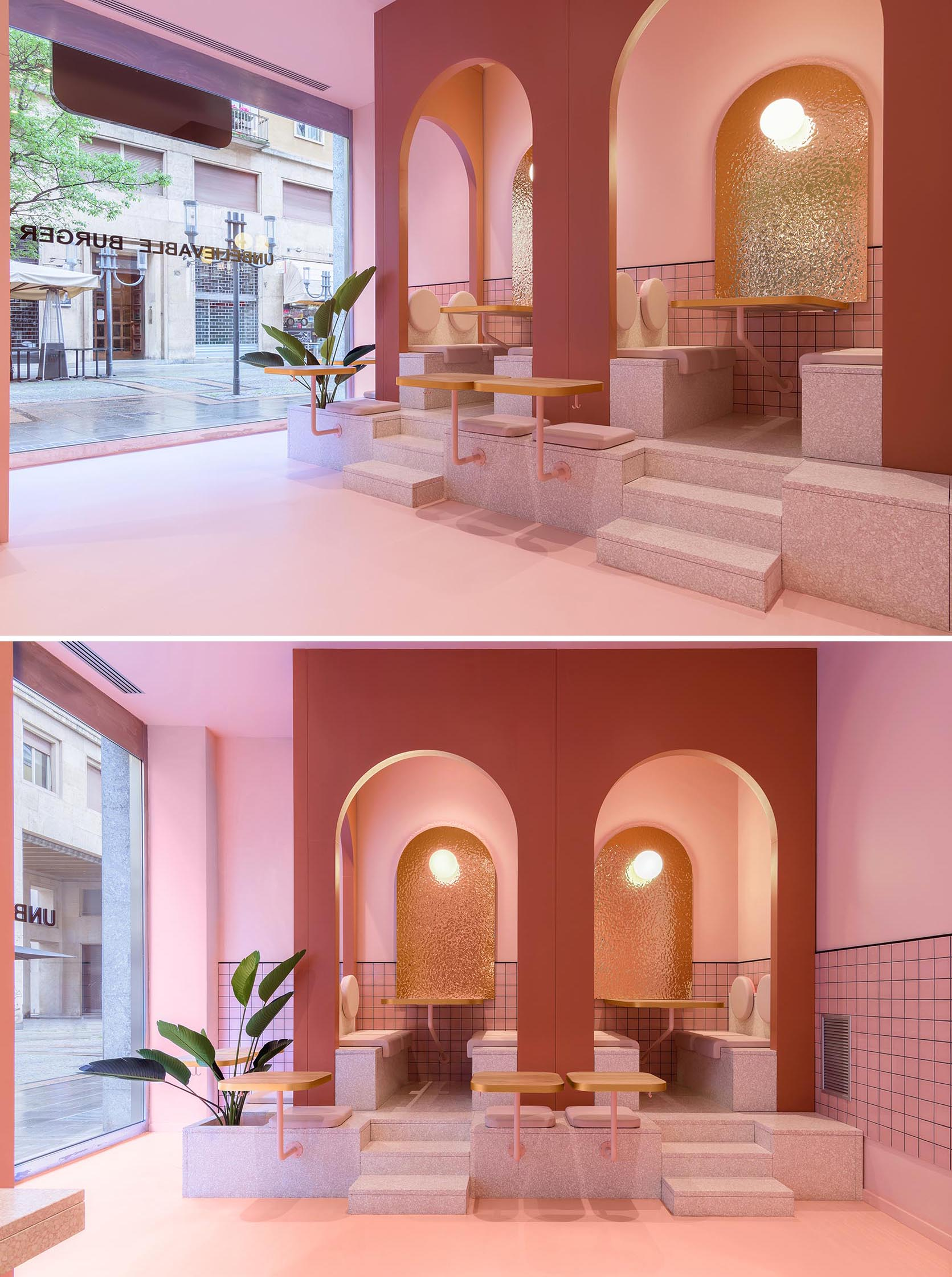 A modern restaurant interior with a pink zone that has raised seating within arches.