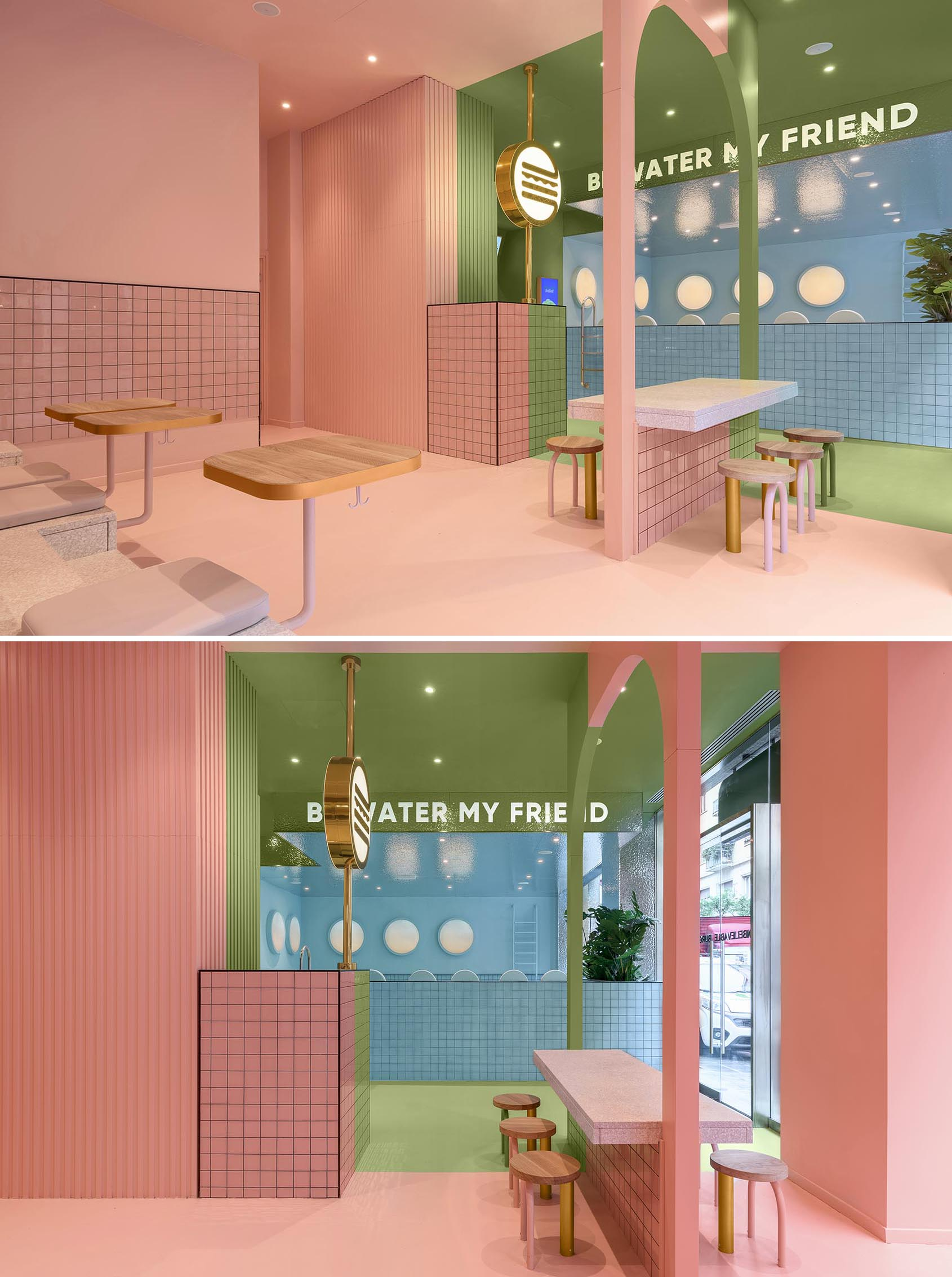 A modern restaurant interior with a pink zone, green zone, and blue zone.