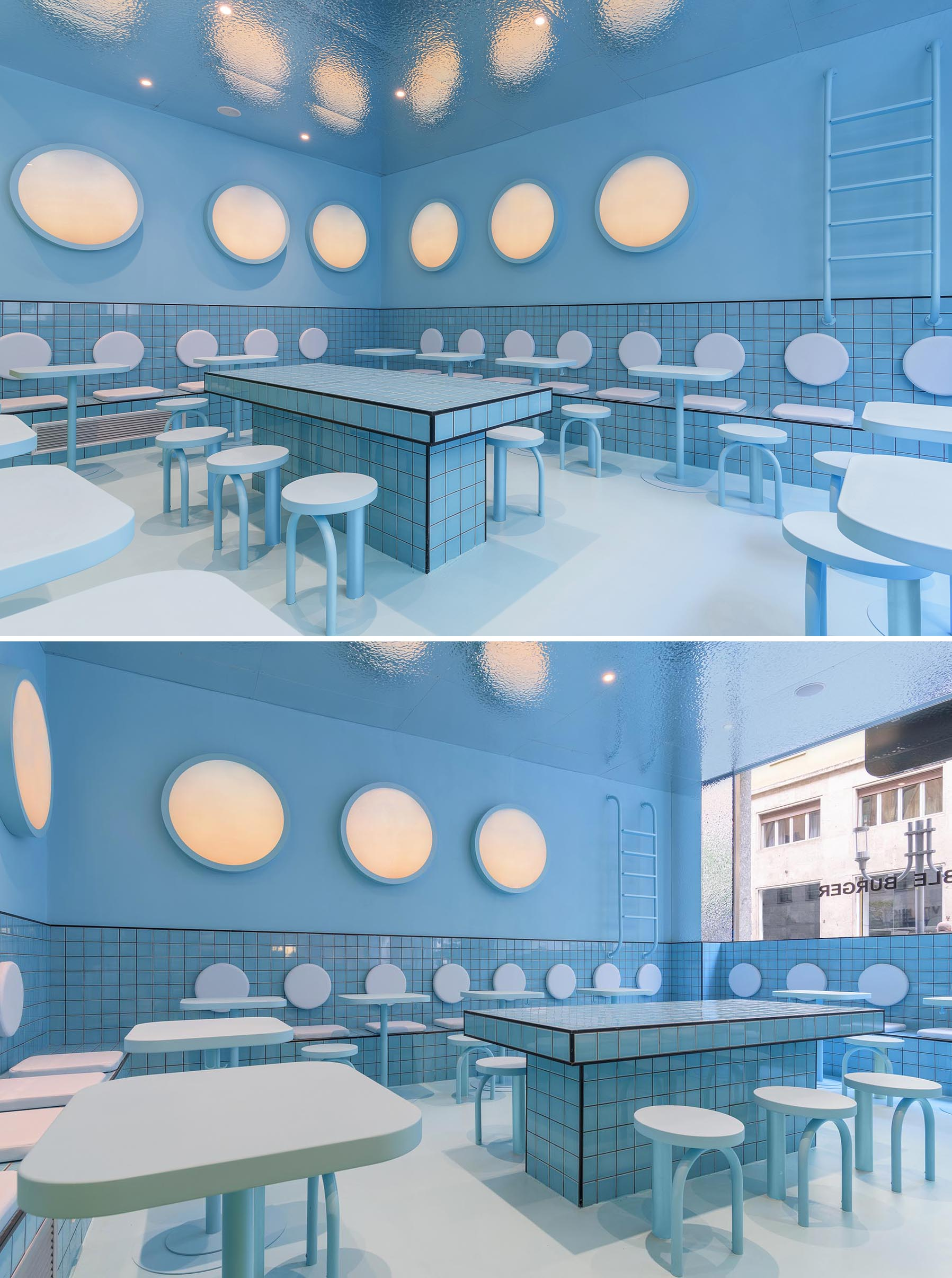 A modern restaurant interior with blue seating area inspired by a swimming pool.