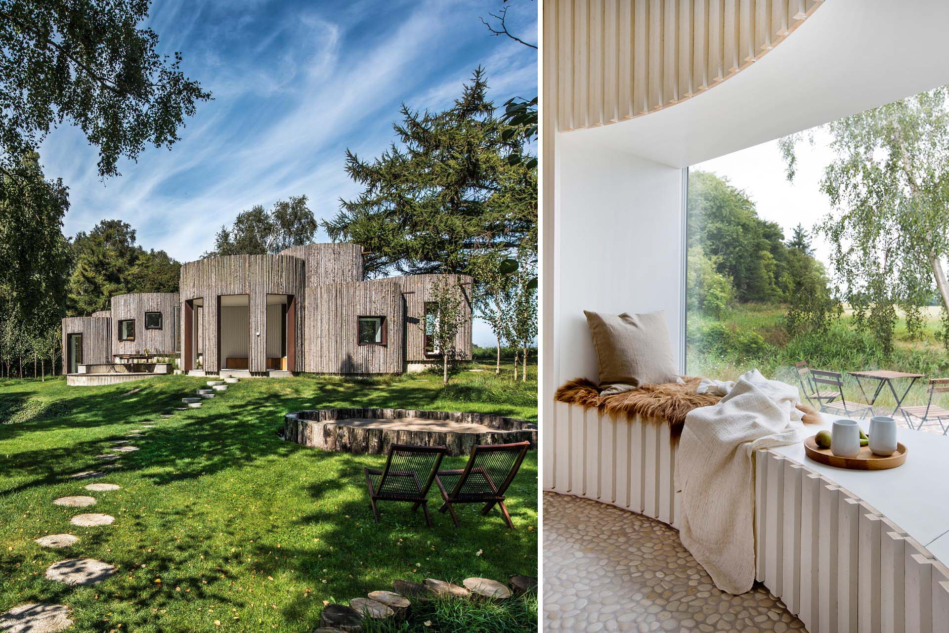 A modern house with a wood exterior, curved interior rooms, and river pebble flooring.