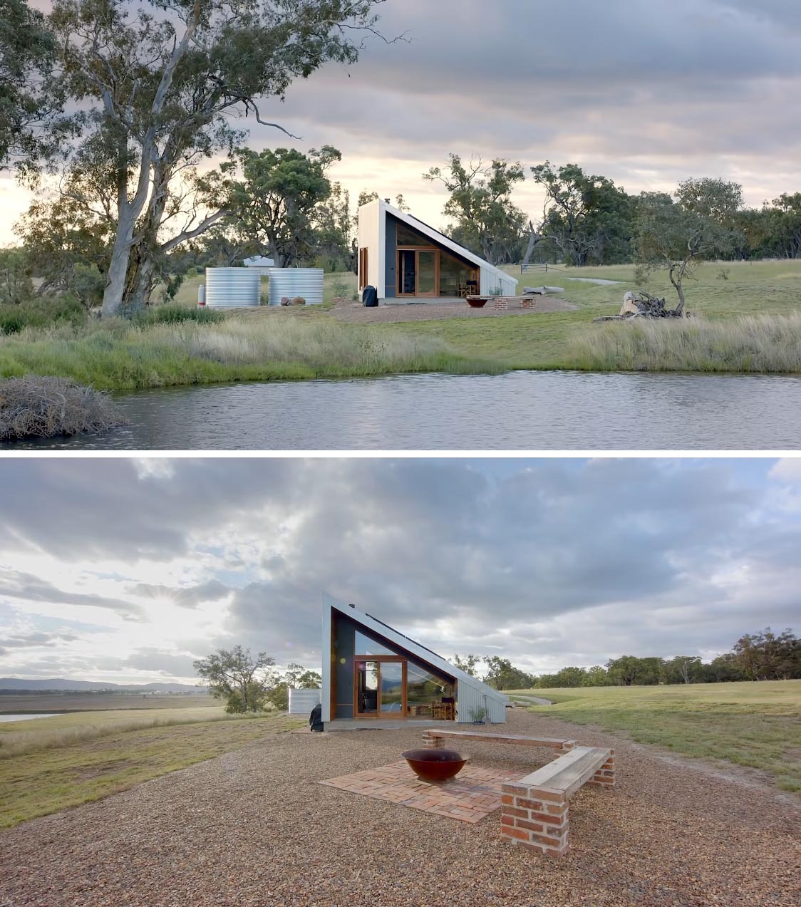 The design of this small 430 square foot off-grid tiny house has corrugated metal siding and a 30 degree roof, that allows for solar panels.