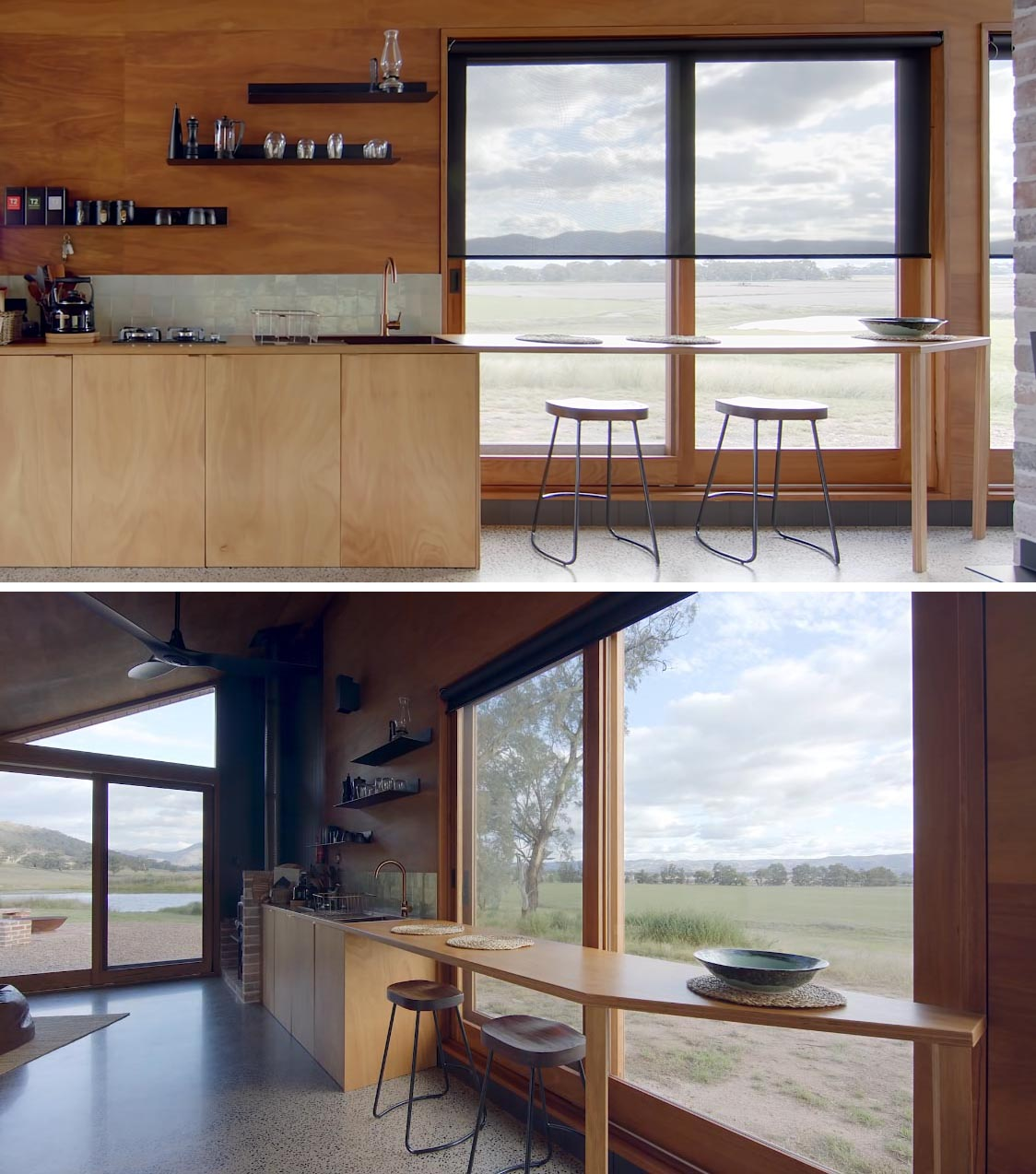 The kitchen countertop in this tiny house, extends past the windows and acts as a dining area or a workspace.