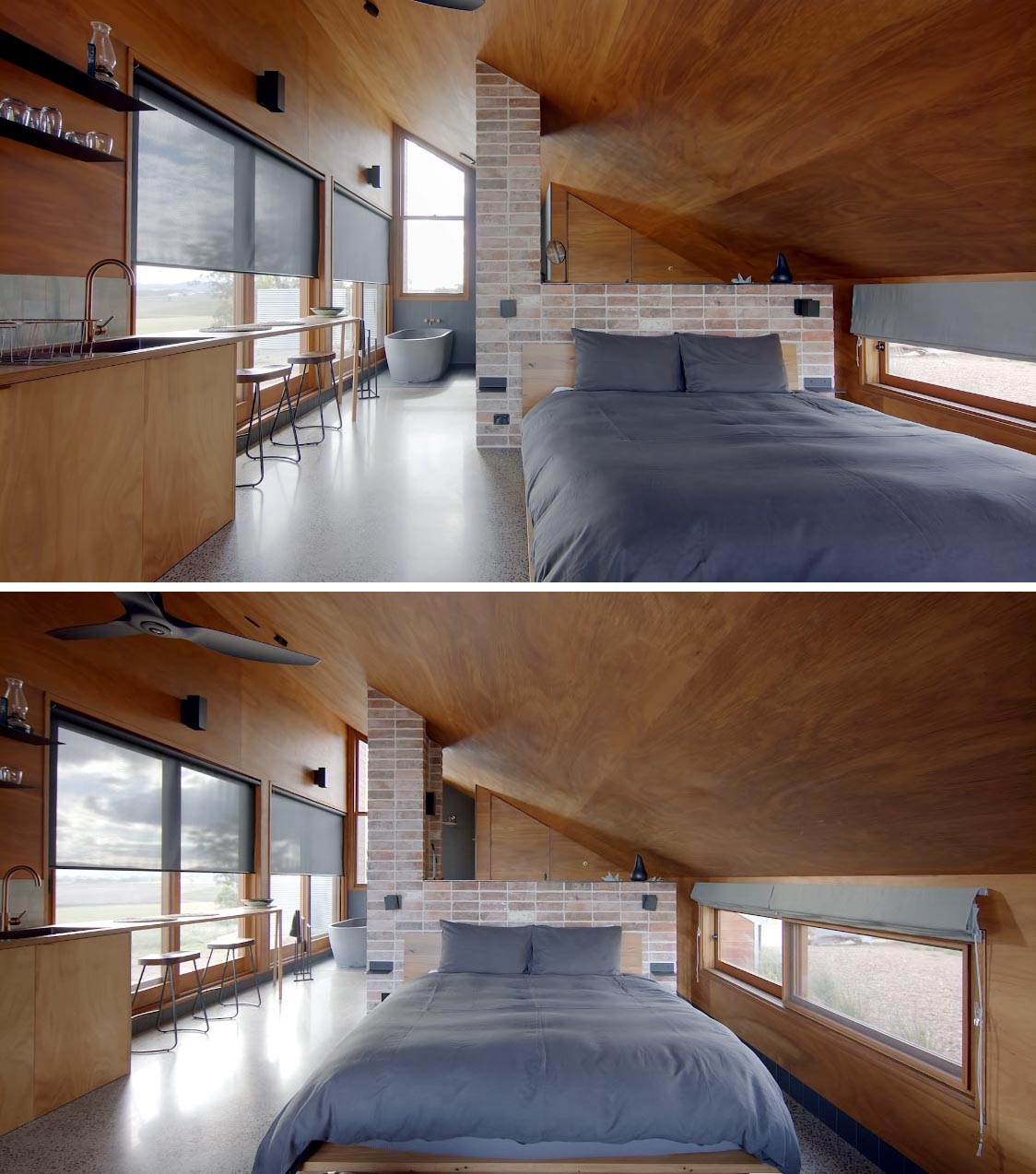 Inside this modern off-grid tiny house, there's polished concrete floors and a blackbutt plywood lined interior. The bedroom area features a king sized bed with reclaimed bricks used as a separation between the sleeping space and the bathroom vanity.