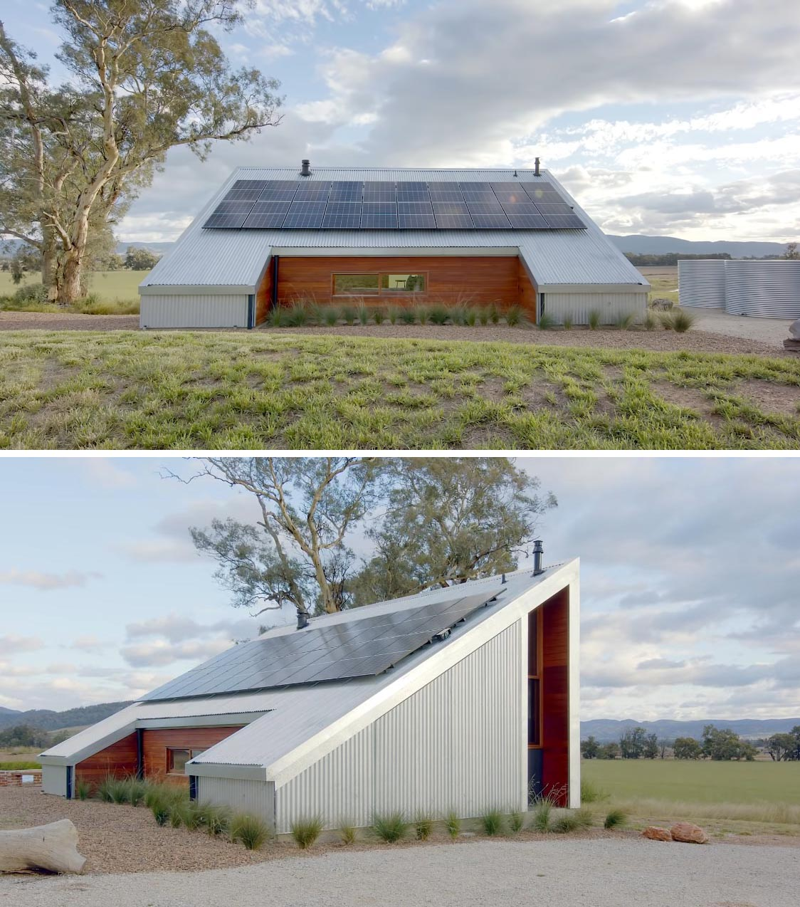 The design of this off-grid tiny house has corrugated metal siding and a 30 degree roof, that allows for solar panels.
