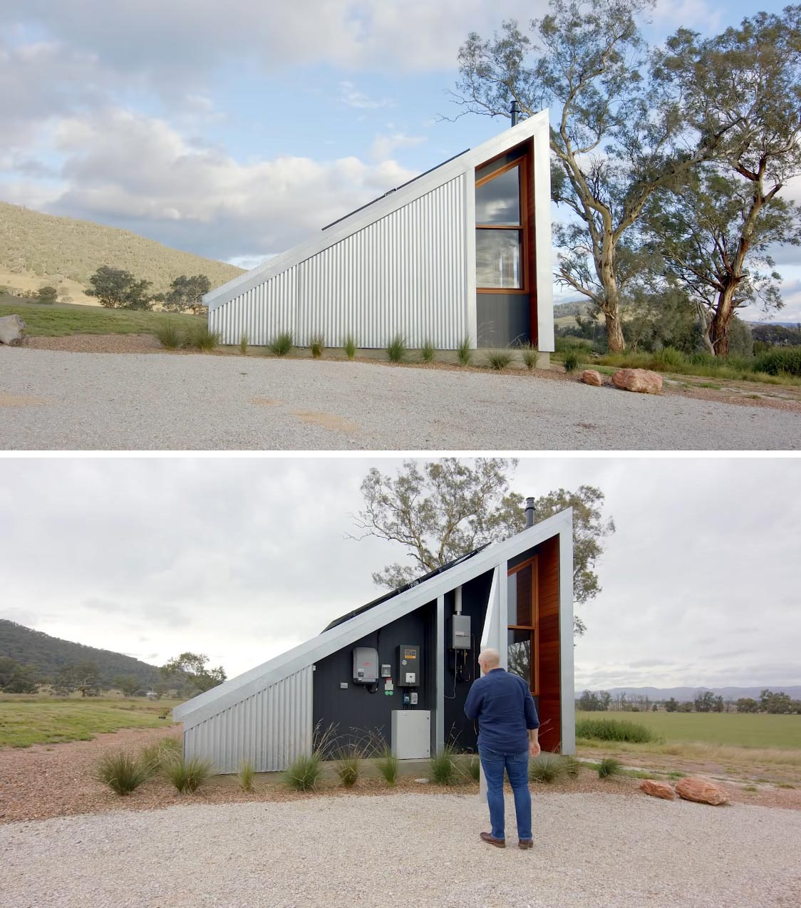 A hidden panel within this off-grid tiny home houses the solar batteries. There's also rain water collection tanks, with some of the water reserved for fighting bush fires if needed.