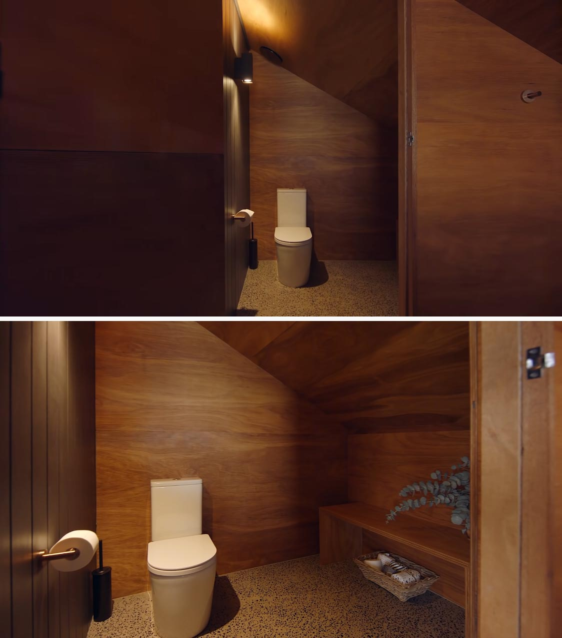 A wood-lined toilet room in an off-grid tiny home.
