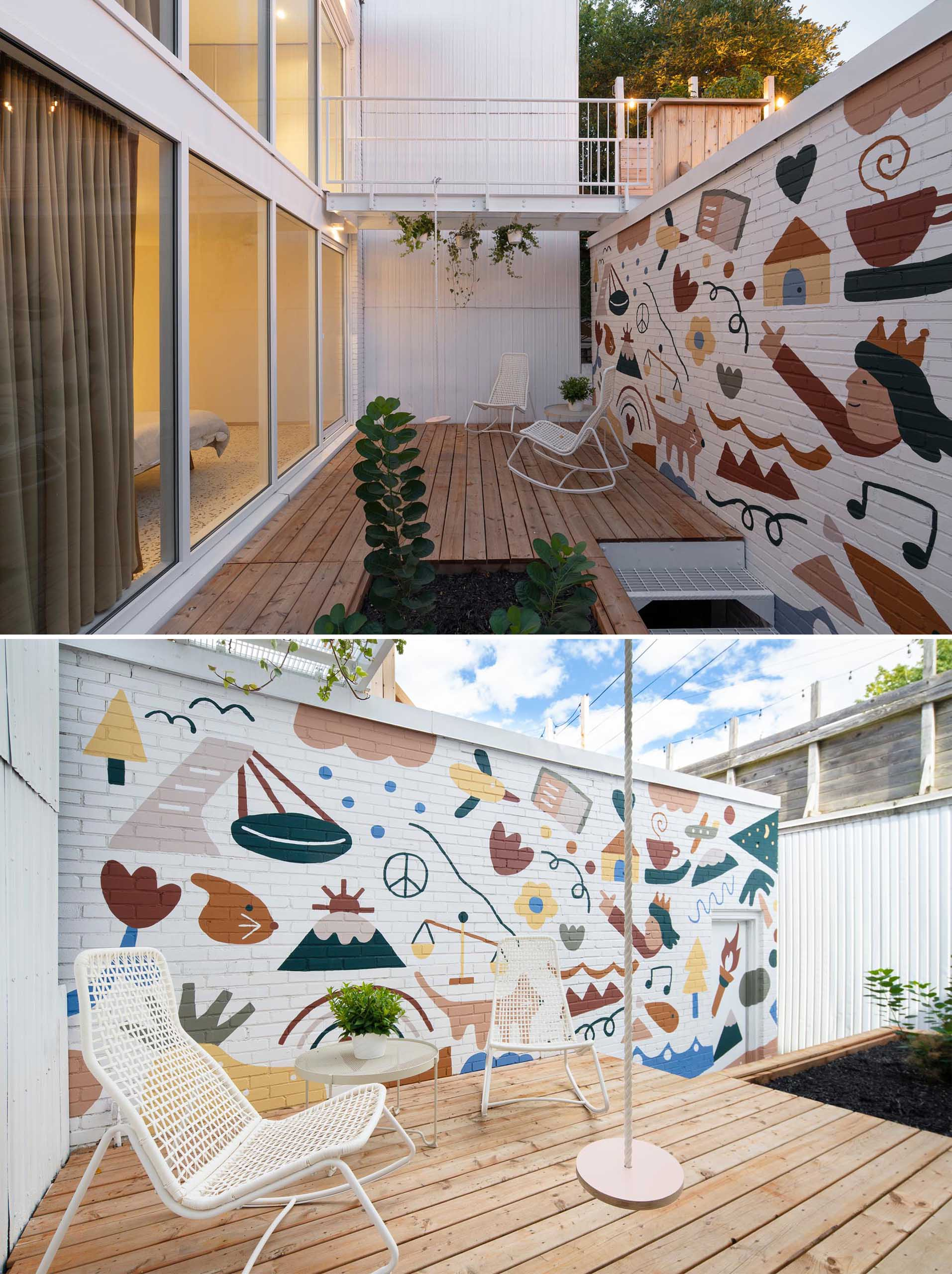 A modern and private courtyard with a fun and colorful mural by artist Marc-Olivier Lamothe.