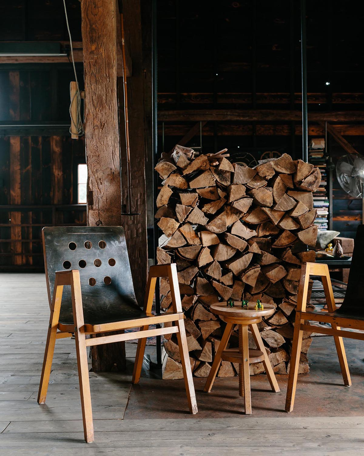 Vintage furniture in a renovated barn.