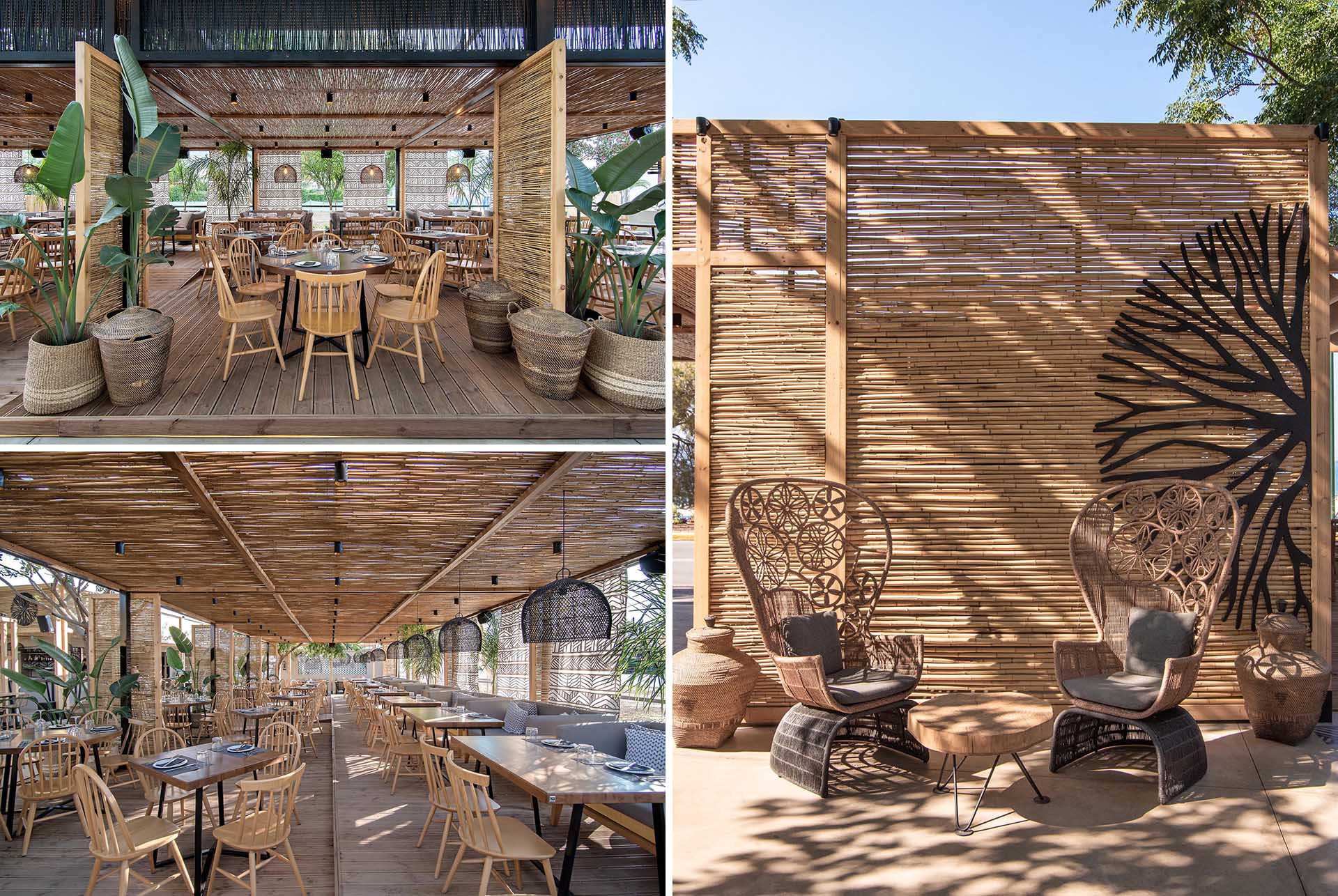 Designed with a beach aesthetic in mind, this modern bar and restaurant showcases natural materials, like reed, throughout its interior.