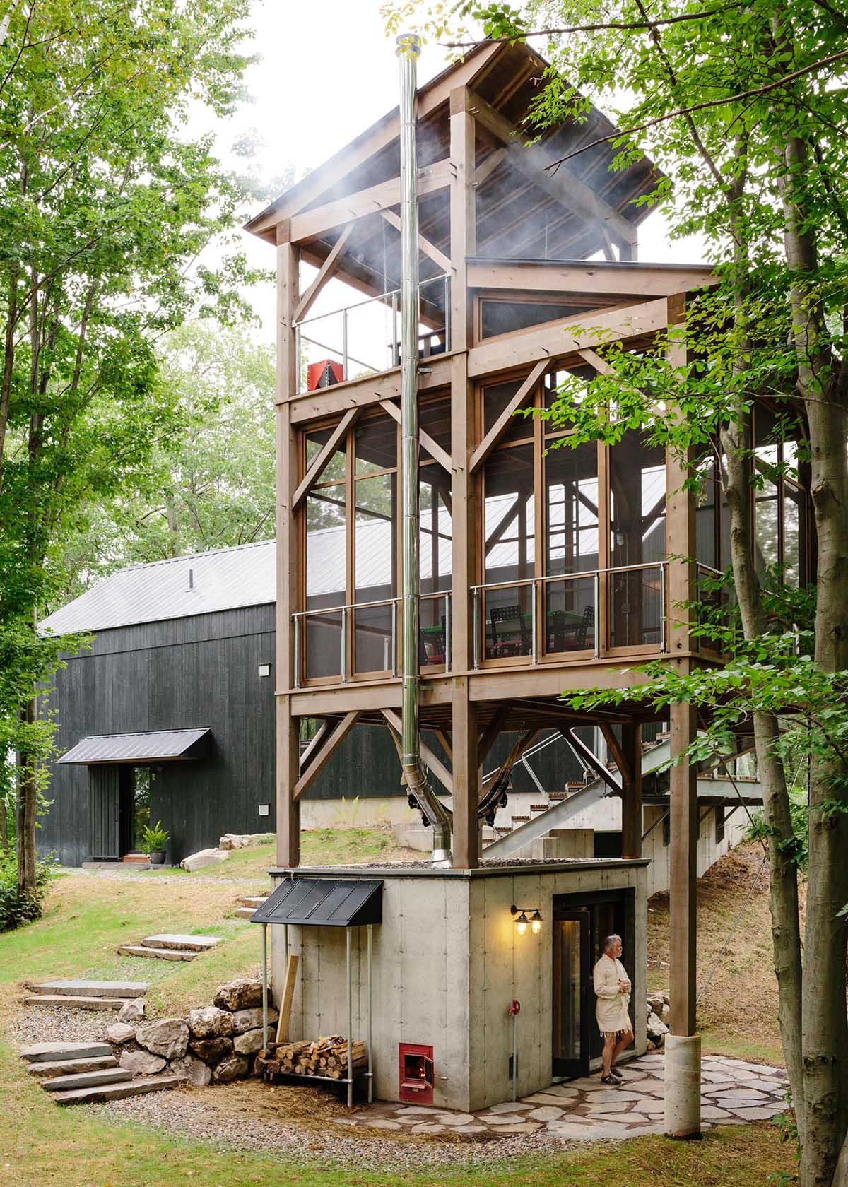 A three-storey cedar tower with a sauna.