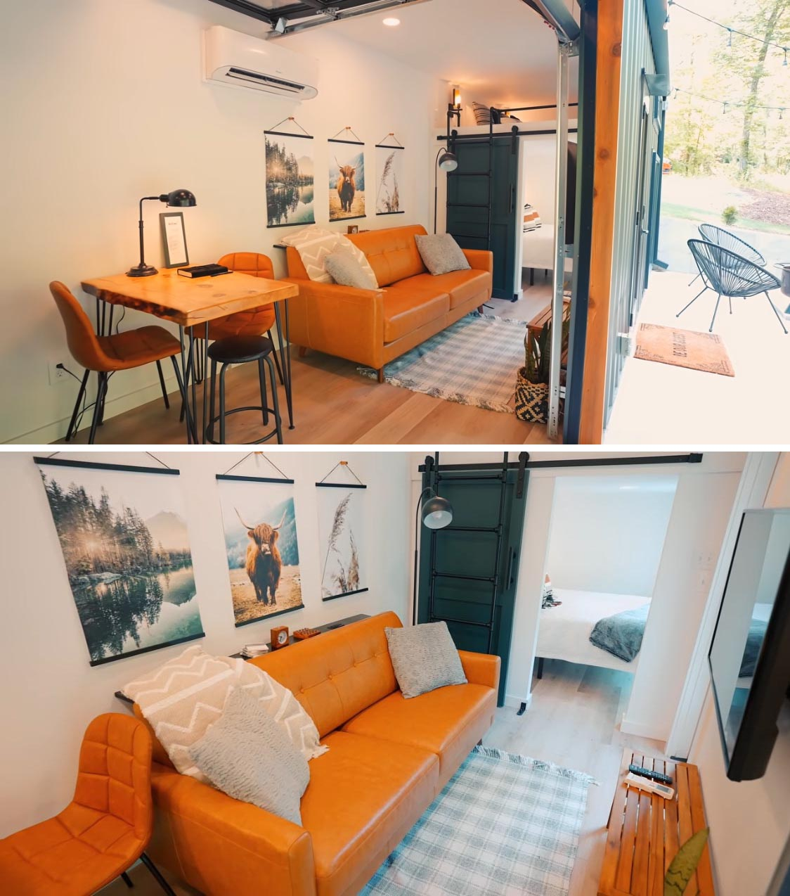 A modern shipping container home with small living room, dining area, a bedroom, and sleeping loft.