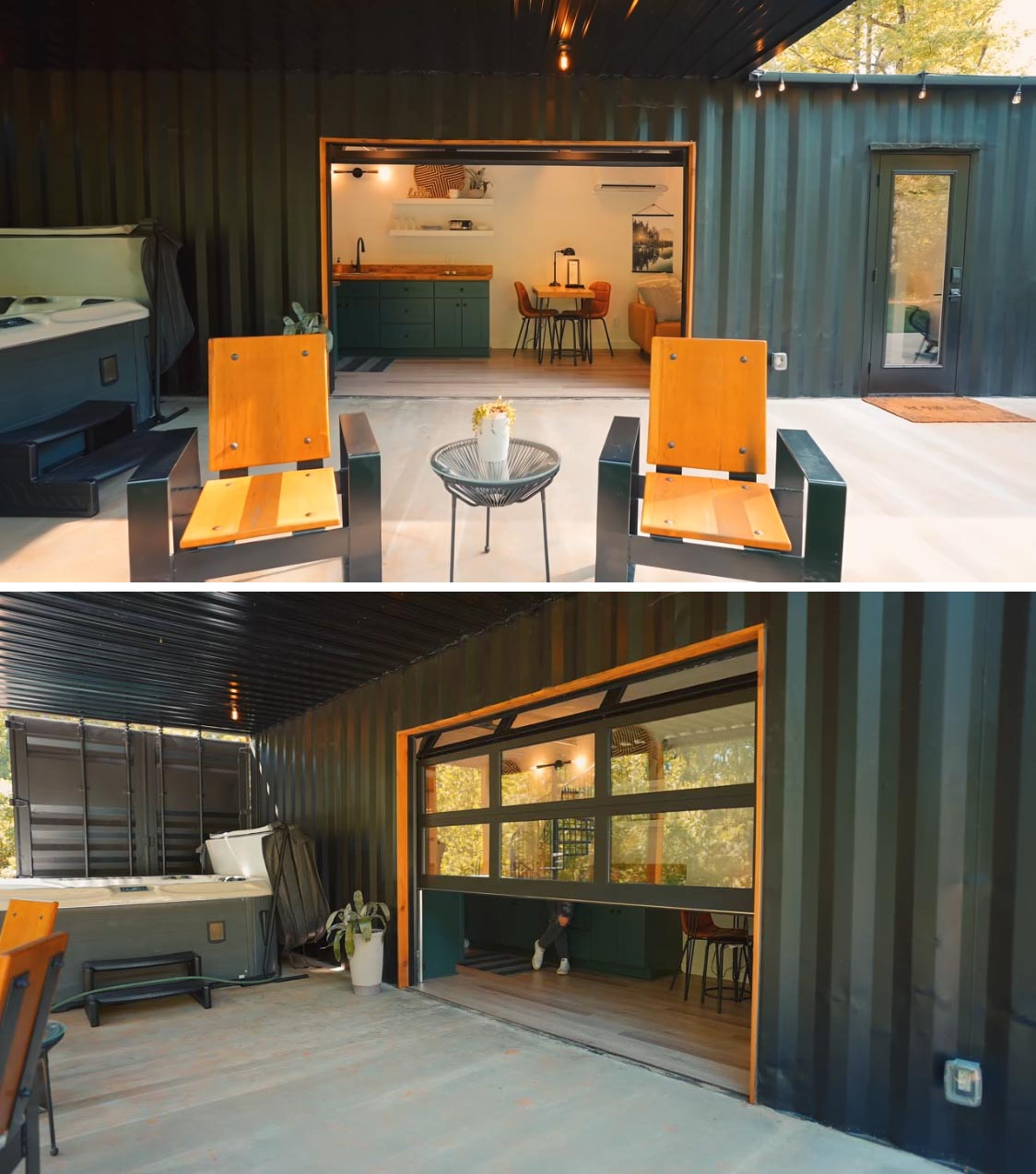 A modern shipping container home with an expansive patio with a hot tub, relaxing seating, and a fire pit area under string lights. A 10 foot working glass garage door opens up the interior to the patio, expanding the living space.