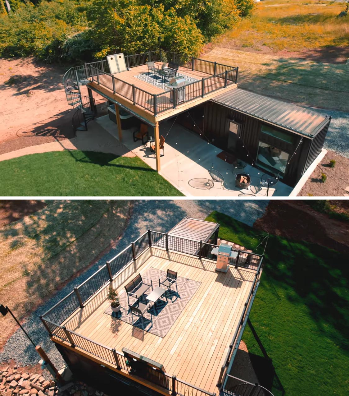 A shipping container tiny home with a black exterior, rooftop deck, outdoor entertaining space, and a modern interior.
