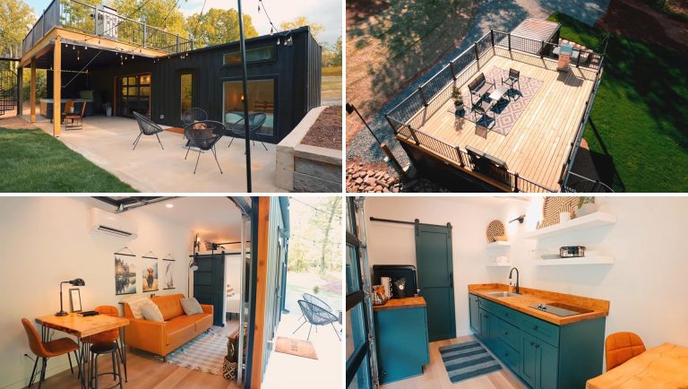 A Rooftop Deck Adds To The Living Space At This Shipping Container House