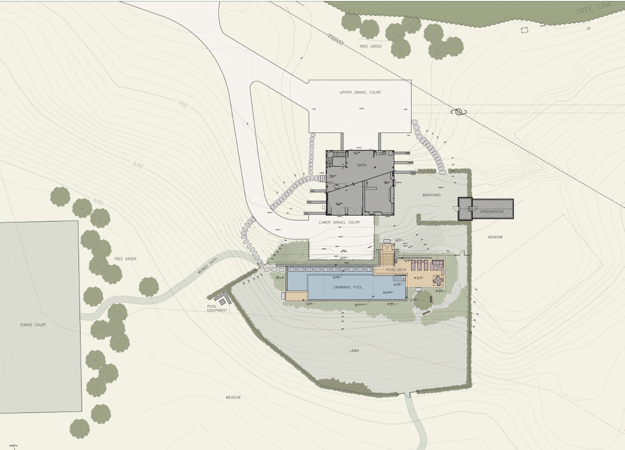 The site plan of a property with three different structures.