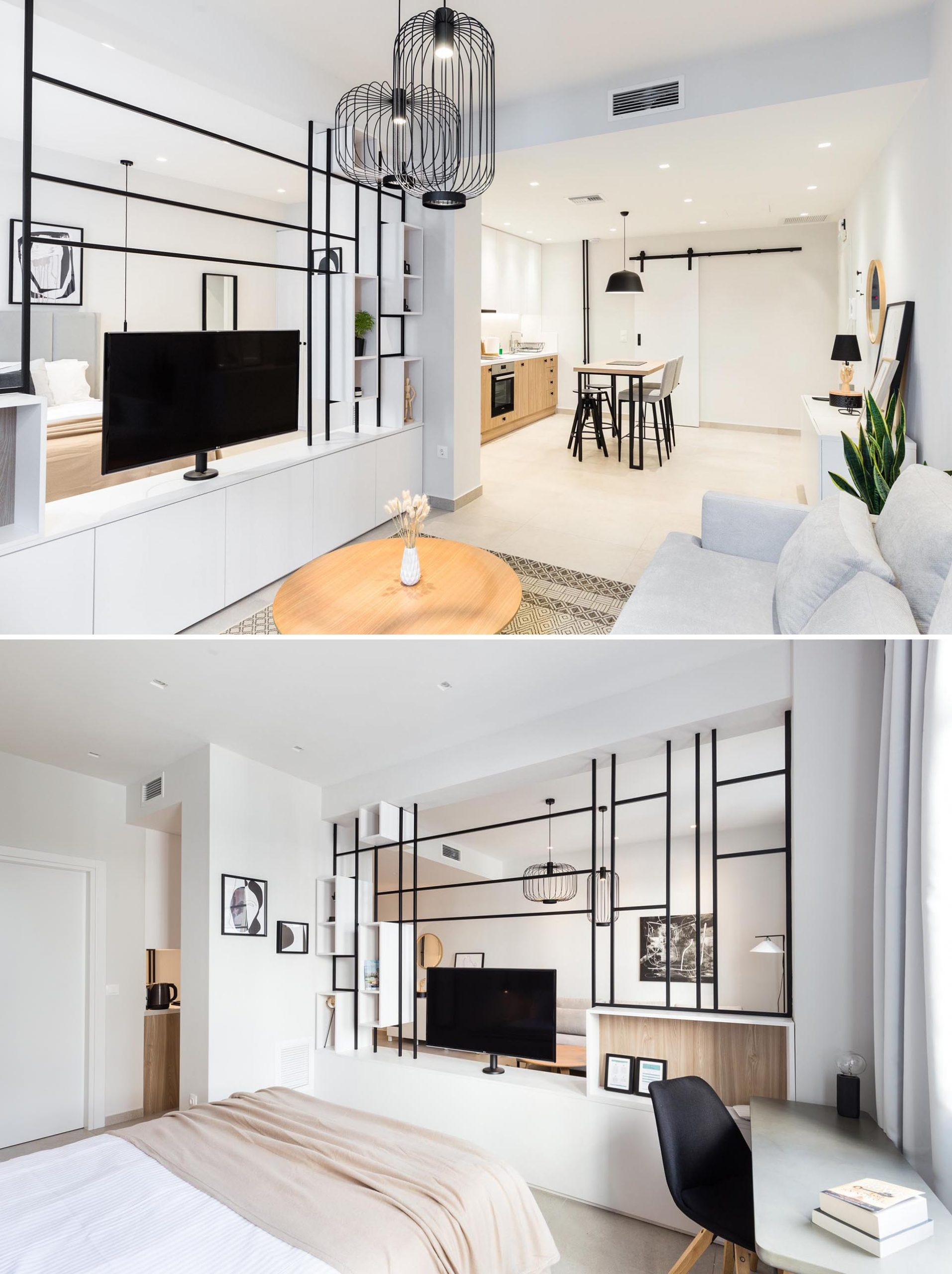 A small apartment with a room divider between the living room and bedroom, that allows the TV to be rotated.