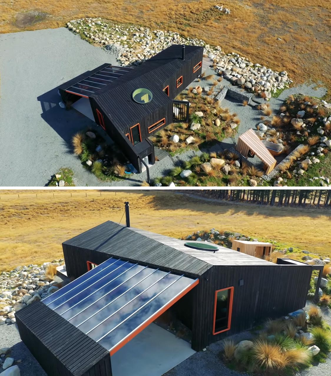 A small cabin with one bedroom, a bathroom, and an open plan living room and kitchen.