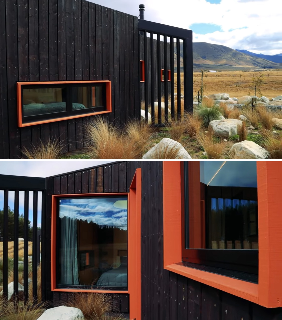 A tiny house with burnt wood siding and contrasting orange window frames.