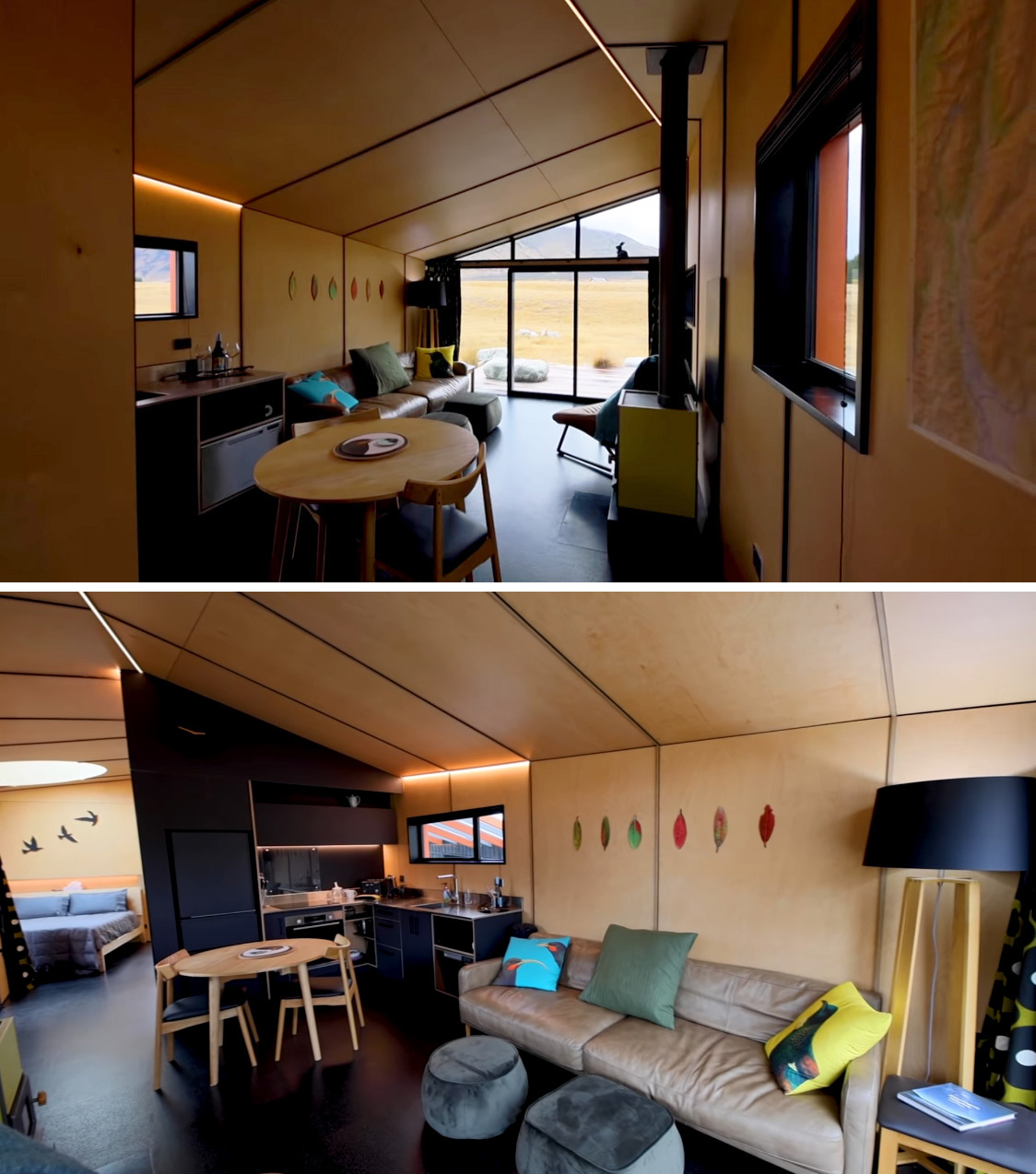 Stepping inside this small cabin, and the living room and kitchen share an open space the look towards the wall of glass at the end of the room. The interior is lined with light Beech plywood to create a warm and cozy environment.