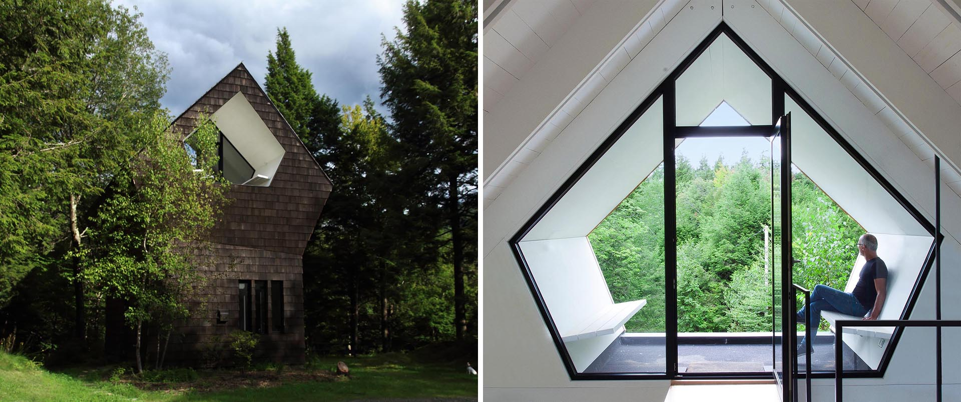A small wood shingle cottage with a pentagonal shaped terrace that's recessed into the wood shingle clad building.