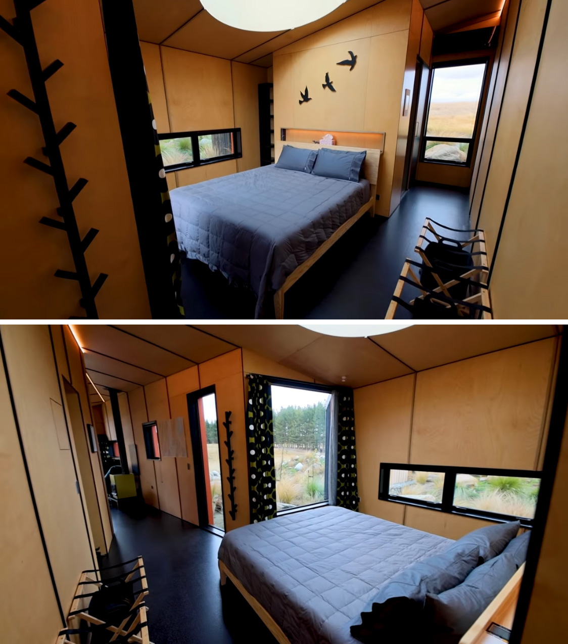 This bedroom is a small cabin includes a small recessed shelving niche above the headboard, ideal for a glass of wine or a book, while windows provide unobstructed views of the outdoors.