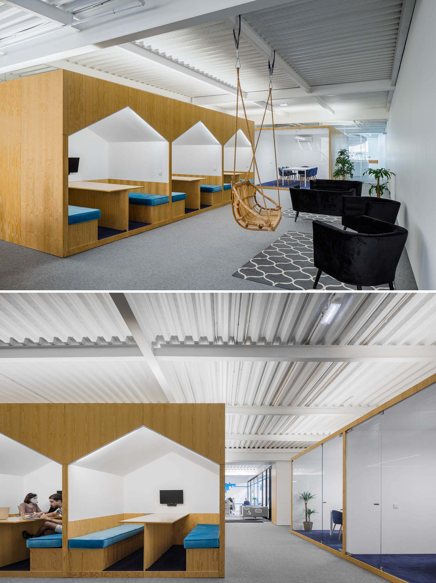 There's a variety of different seating areas in this modern office interior, including spaces for casual meetings in house-shaped alcoves.