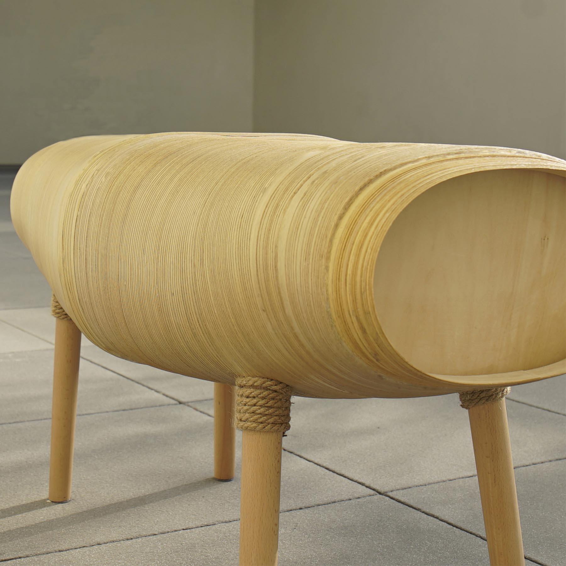 A wood bench.