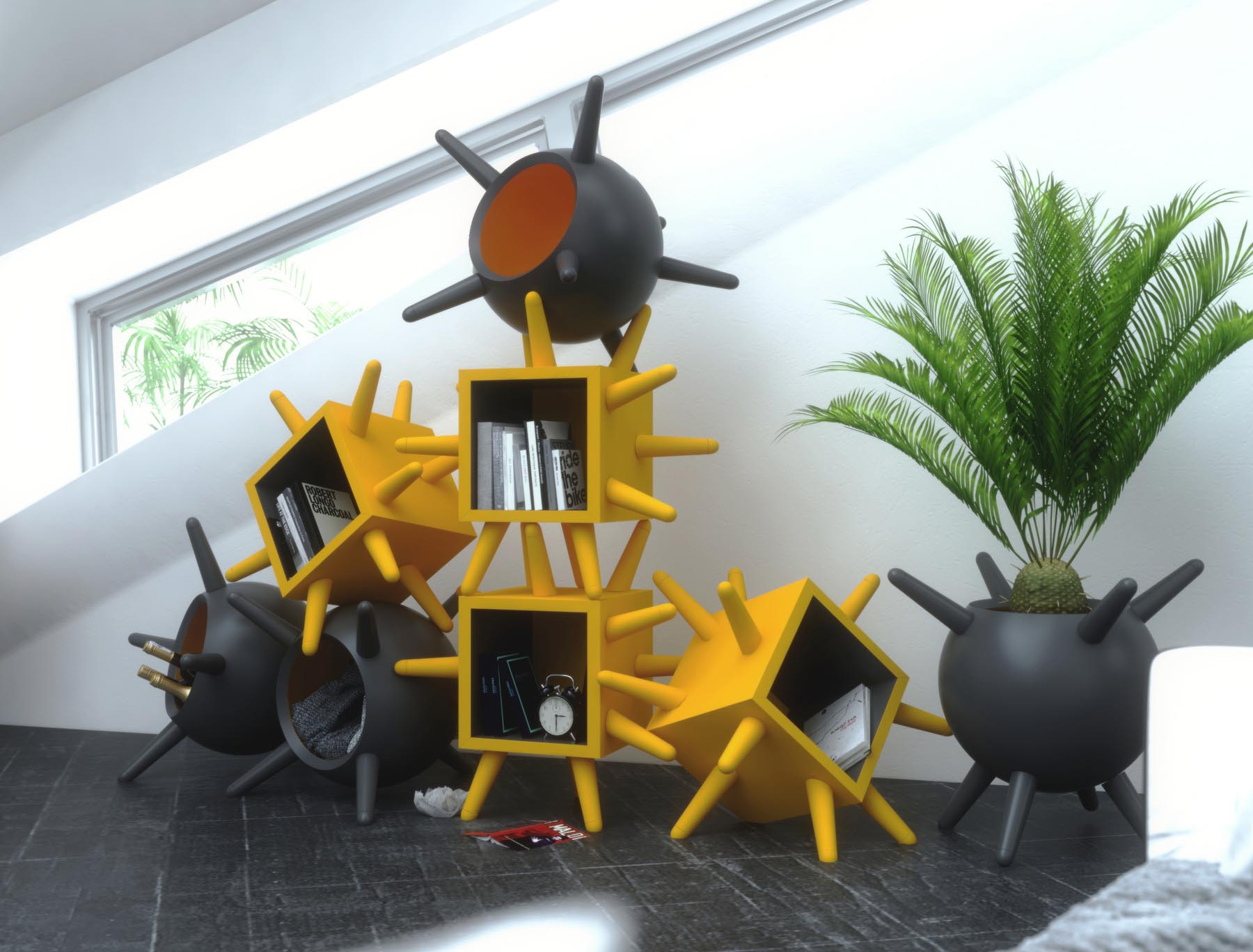 Unique multi-functional furniture can be used for storage, as a planter, or as a table base.
