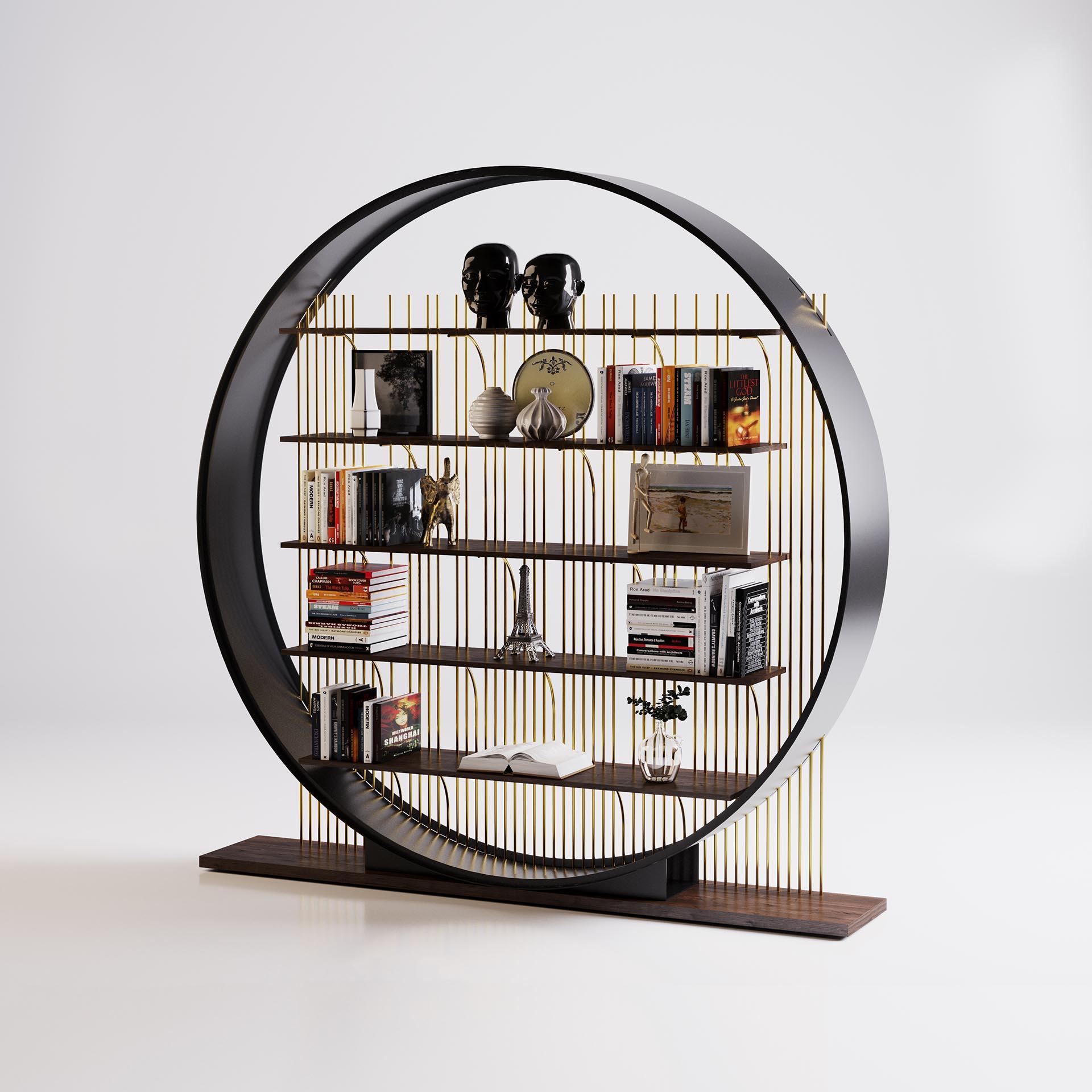 The ring bookshelf with a circular design