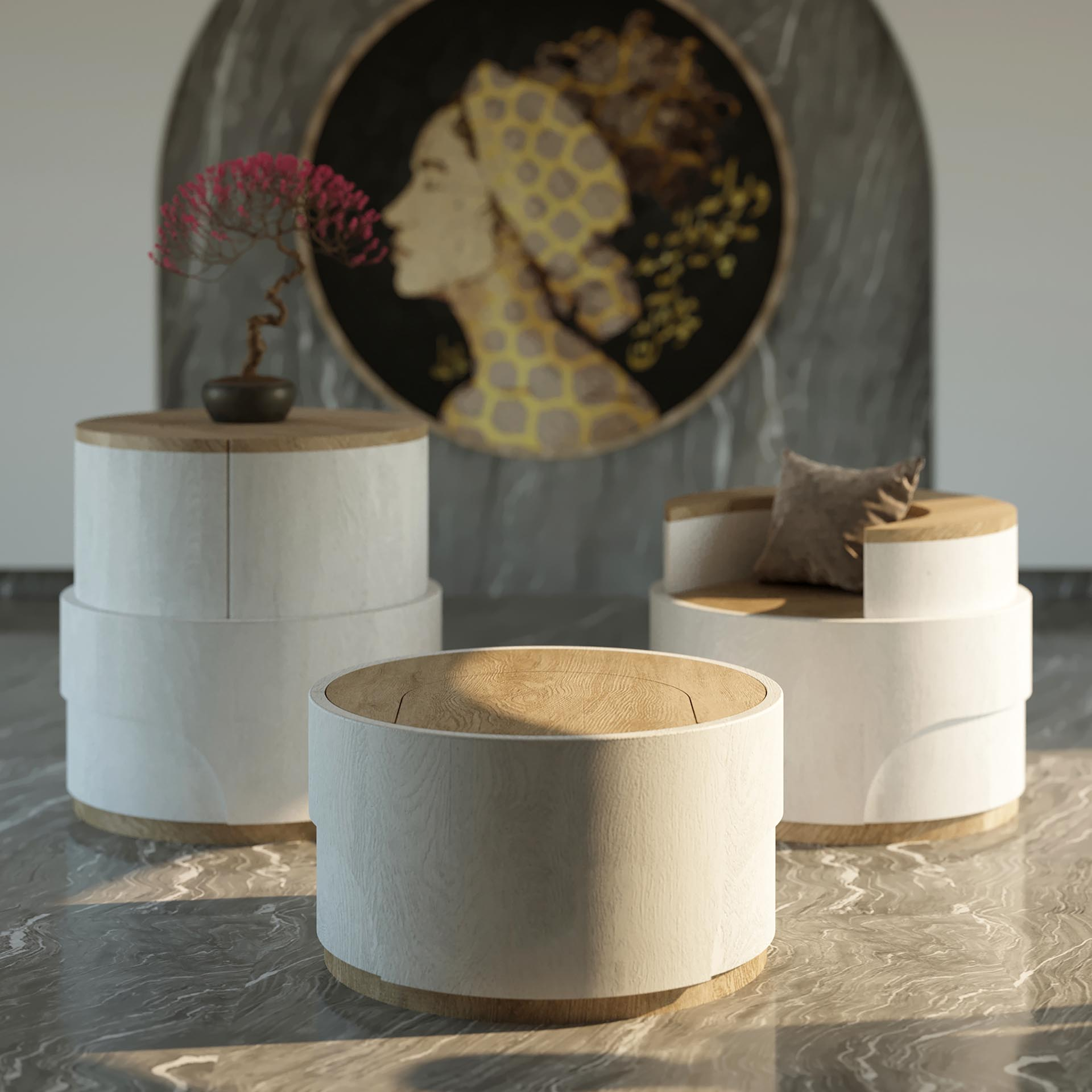 Modern multi-functional furniture that can be used as a footrest, chair, or table.