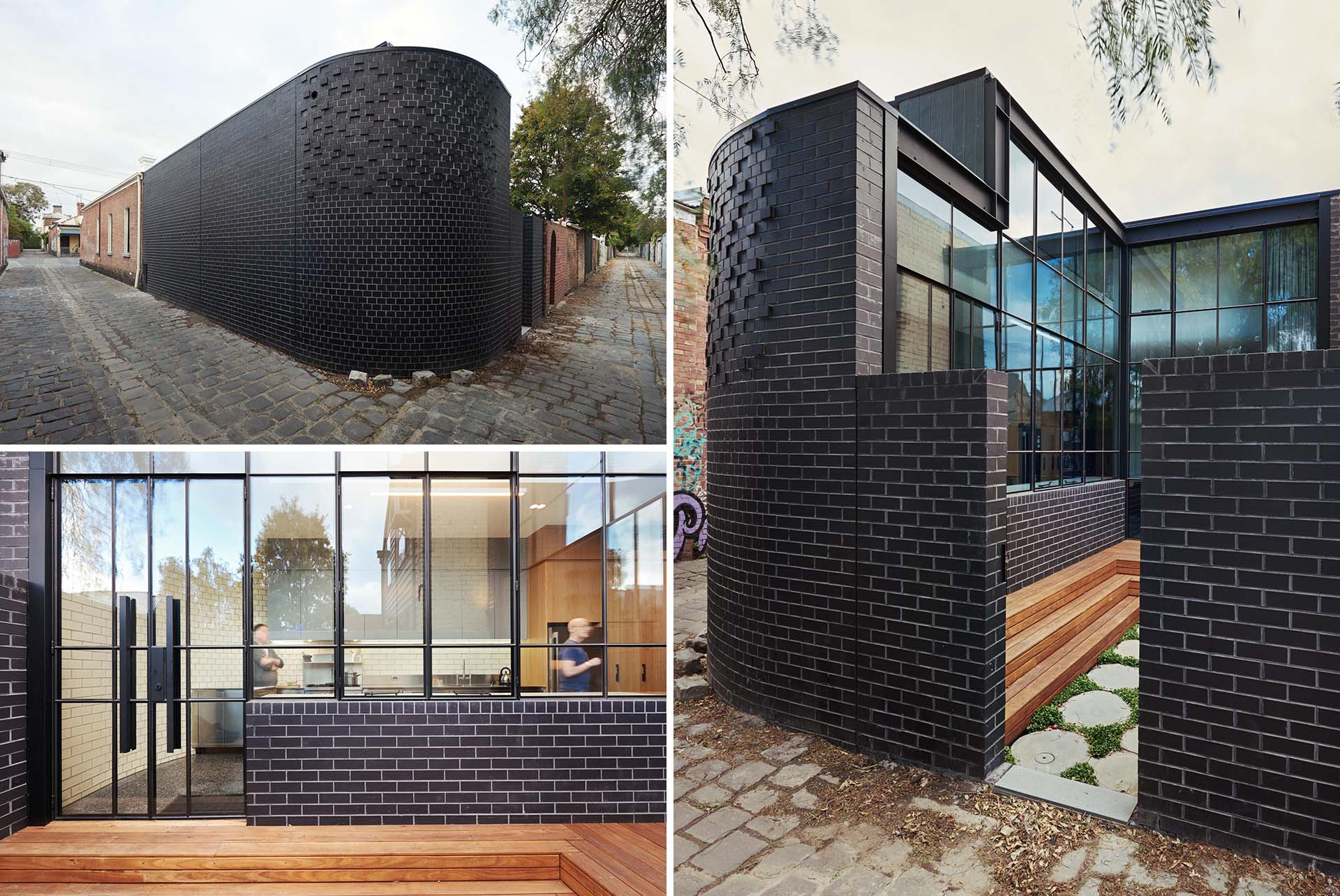 A modern home addition is identified by the black brick wall.