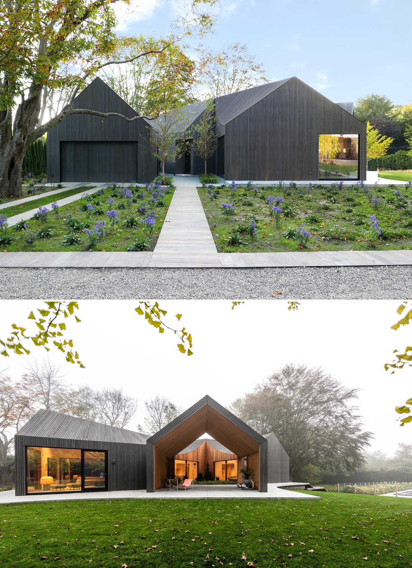 A modern house clad in charred, stained, and sealed accoya wood siding.