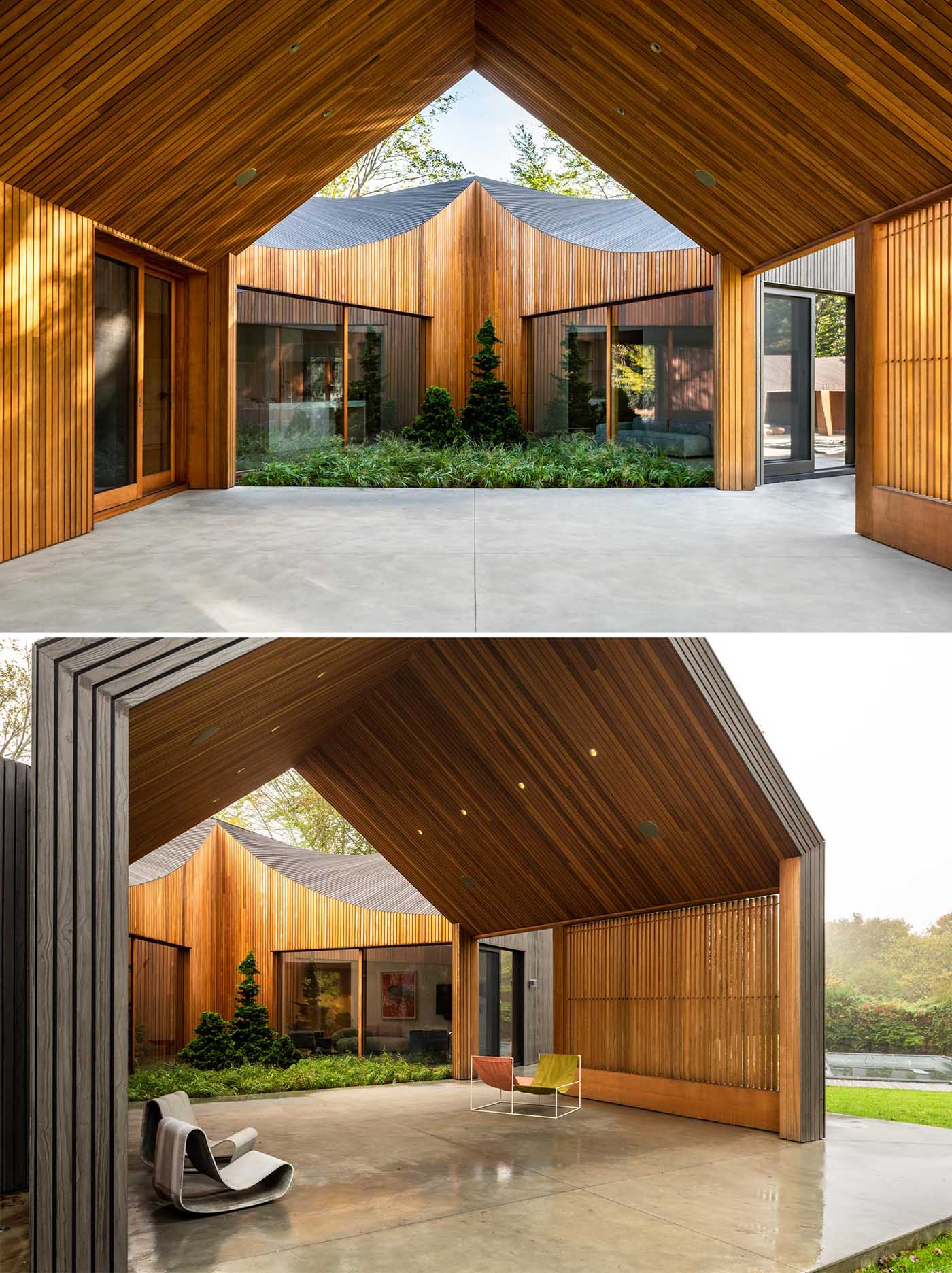 Ochre-hued cedar clads this home's hybrid indoor/outdoor zones, such as the triangular courtyard and porch.