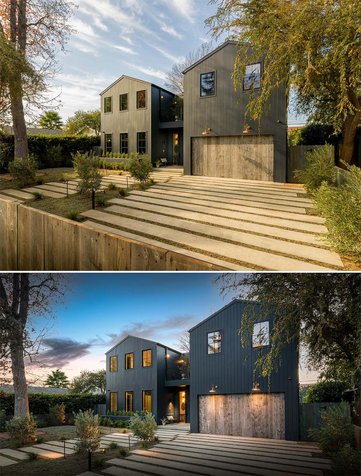 A modern farmhouse inspired home with a double A-frame design.