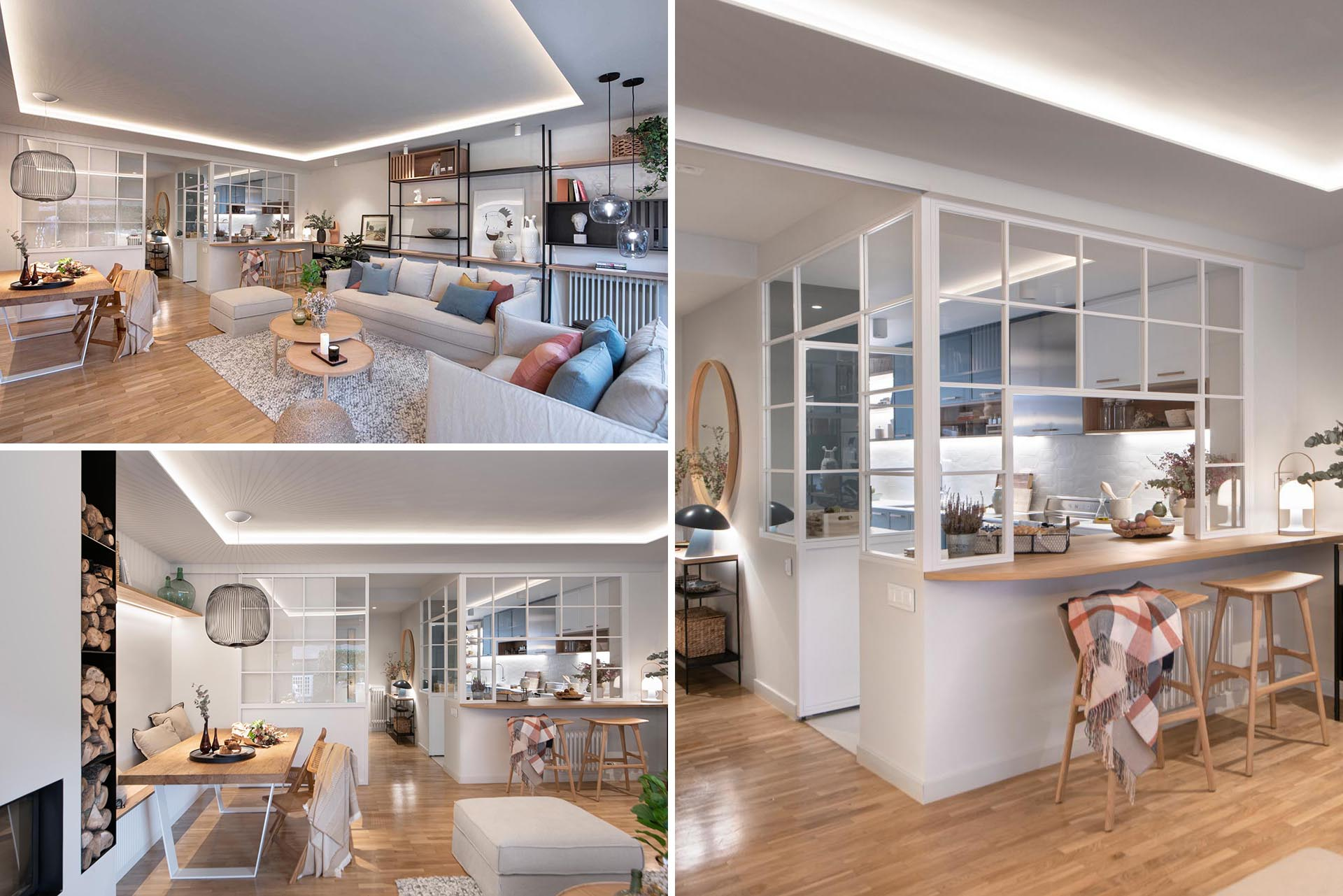Design firm Egue y Seta, has completed the renovation of a home in Barcelona, Spain, that includes three levels, and a kitchen that's enclosed within interior windows.