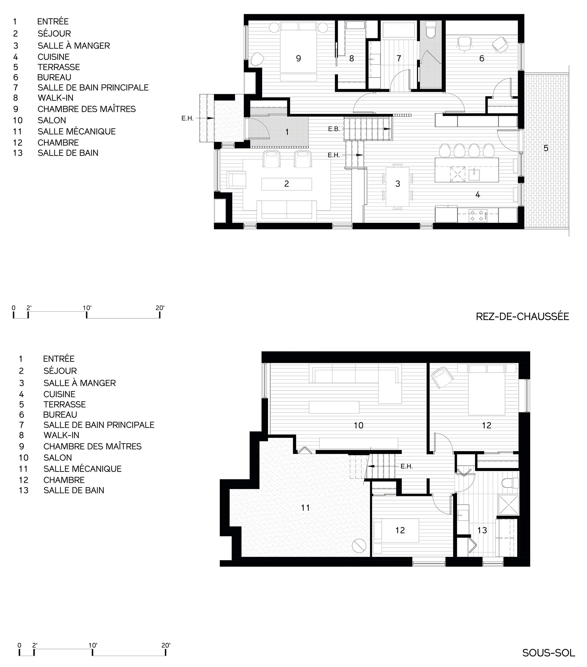 The floor plan of a split-level home.