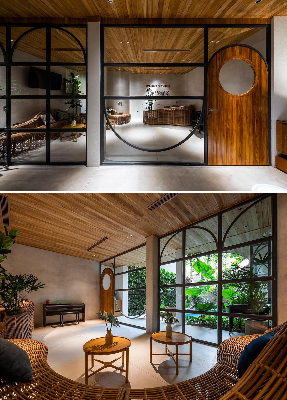 The interior of this building features materials like woods, local split stones, concrete, terrazzo, and rattan.