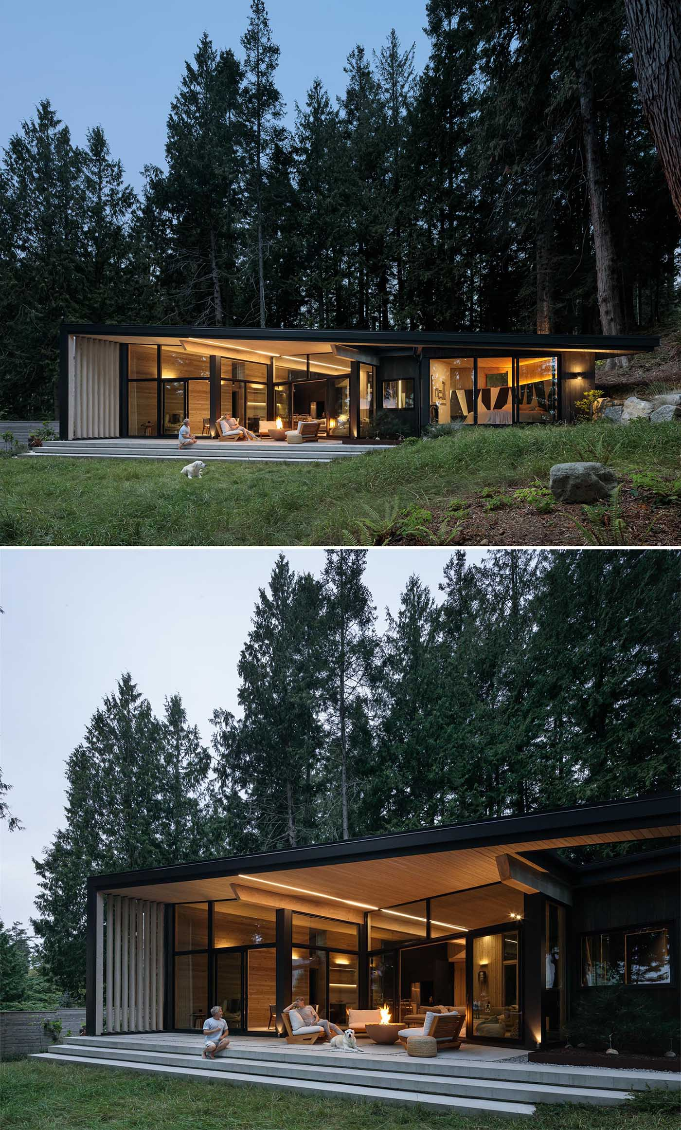 This modern cabin is clad with second-growth managed forestry cedar inside and out.