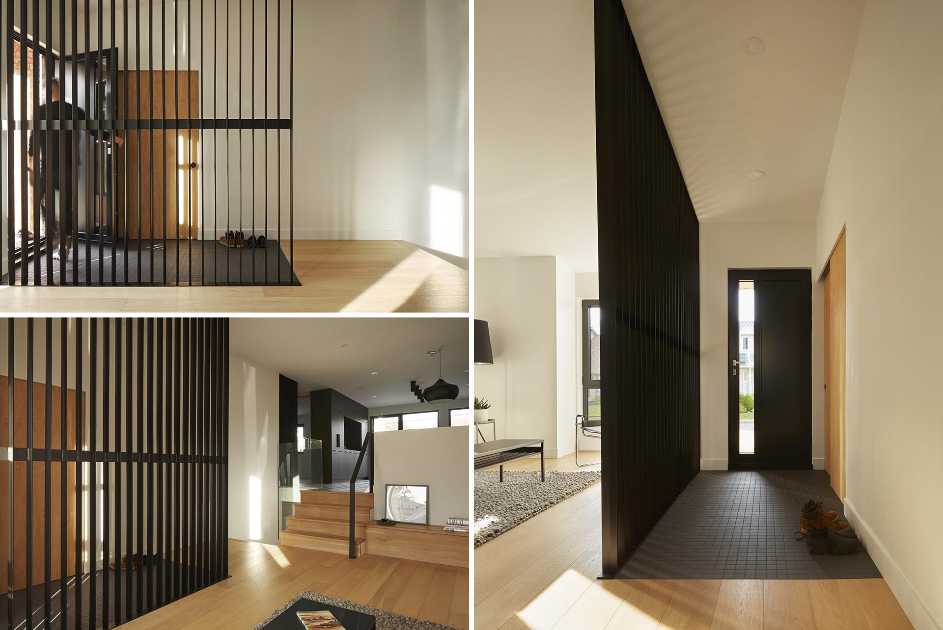 This modern room divider complements the dark tiled floor, allows the light from the living room to travel through to the entryway, and helps to define the entrance.