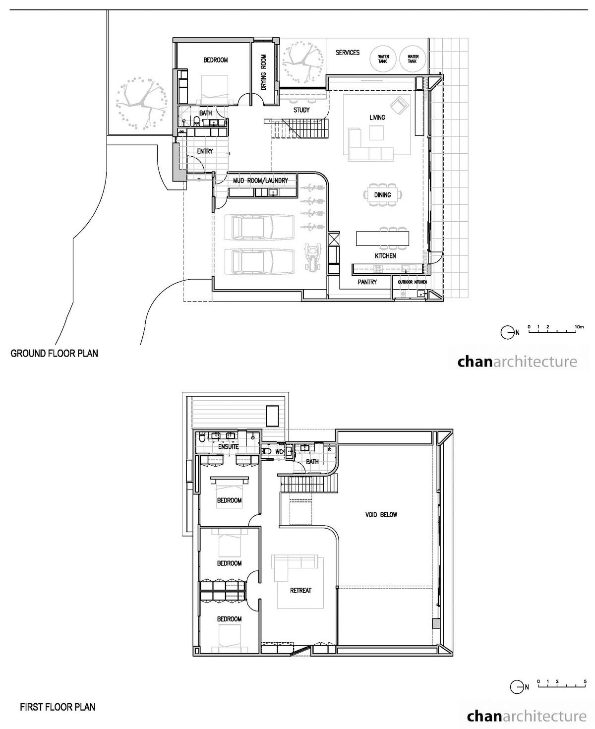 The floor plan of a modern home that has two levels.