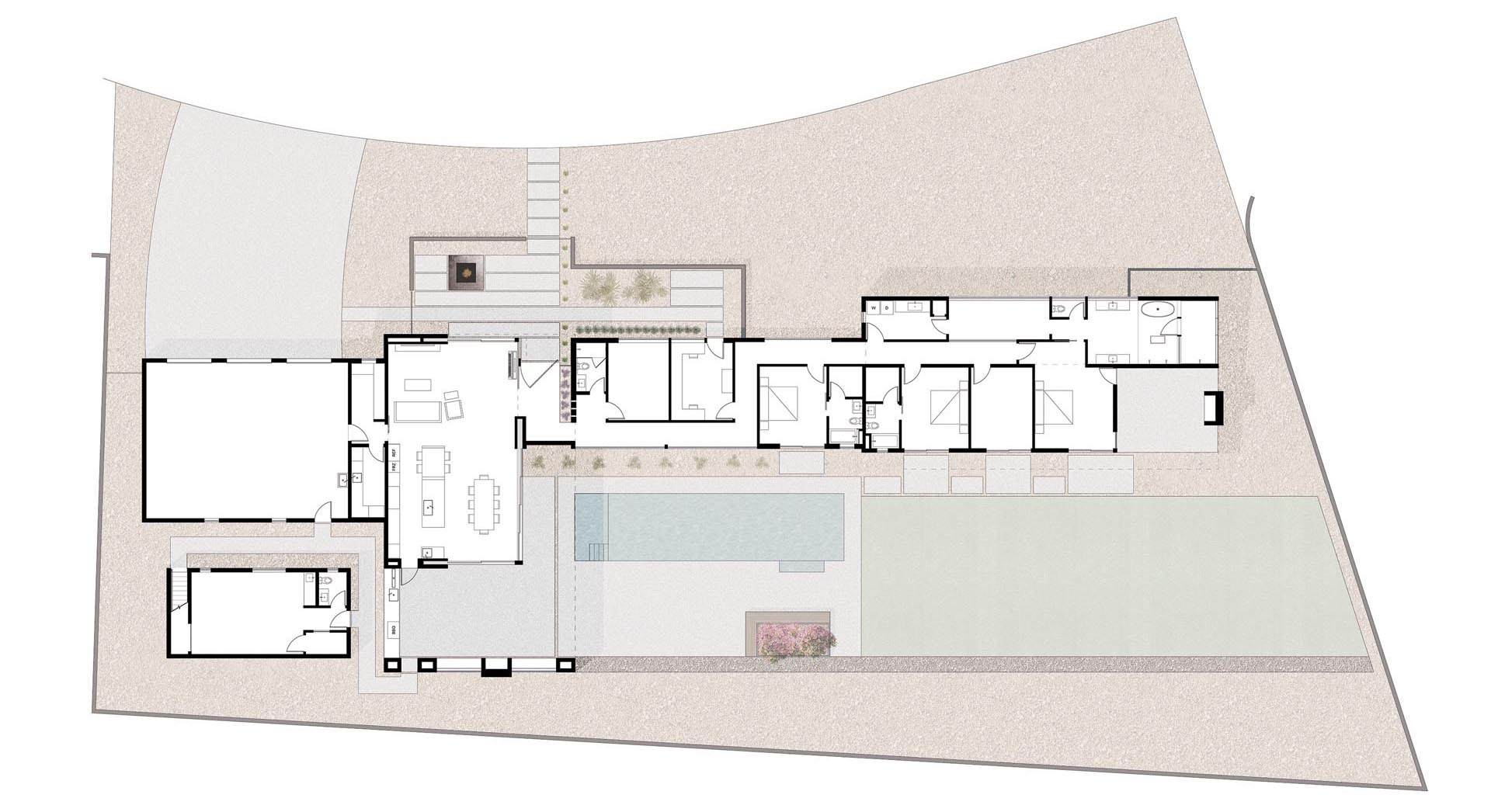 The floor plan of a modern house that has a great room, a large covered outdoor patio, and a swimming pool.