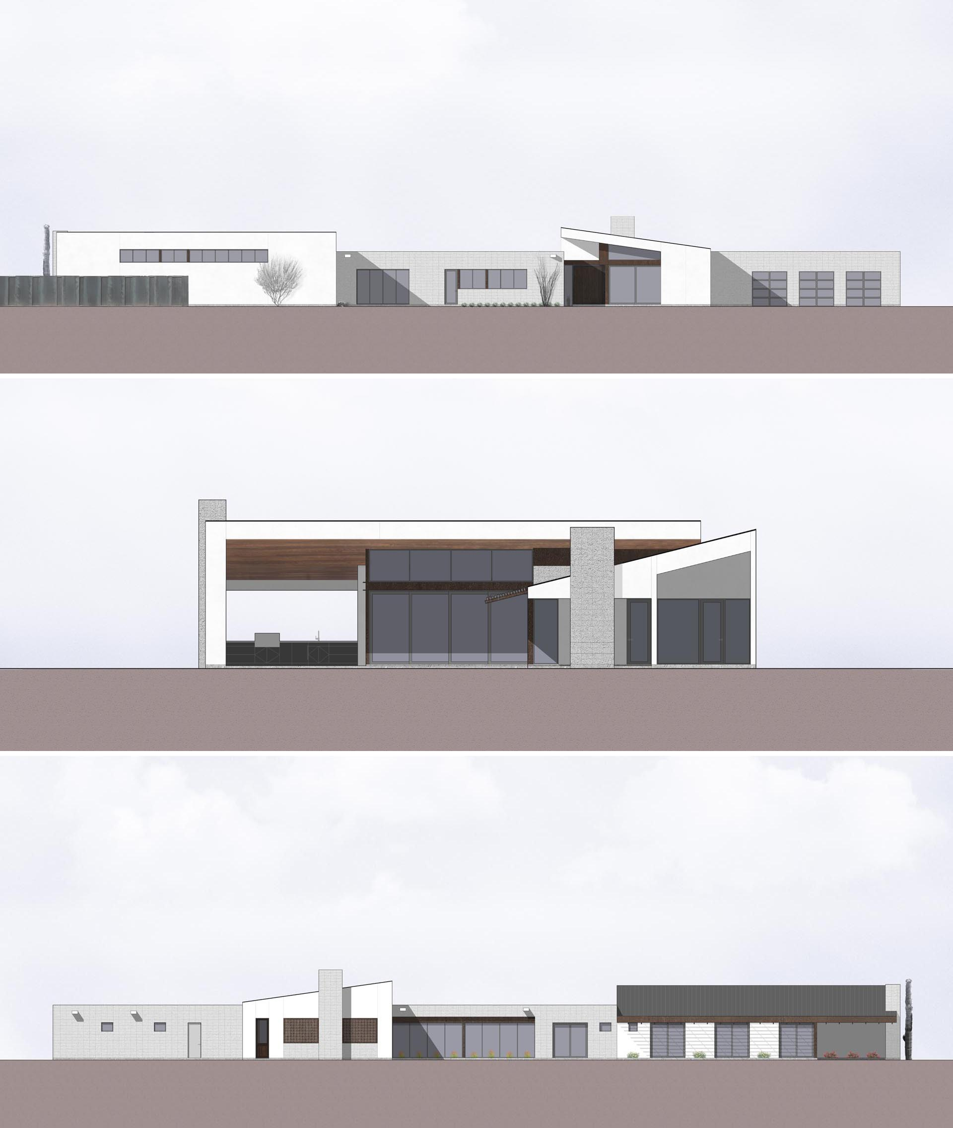 The elevations of a modern house that uses concrete blocks in its construction.