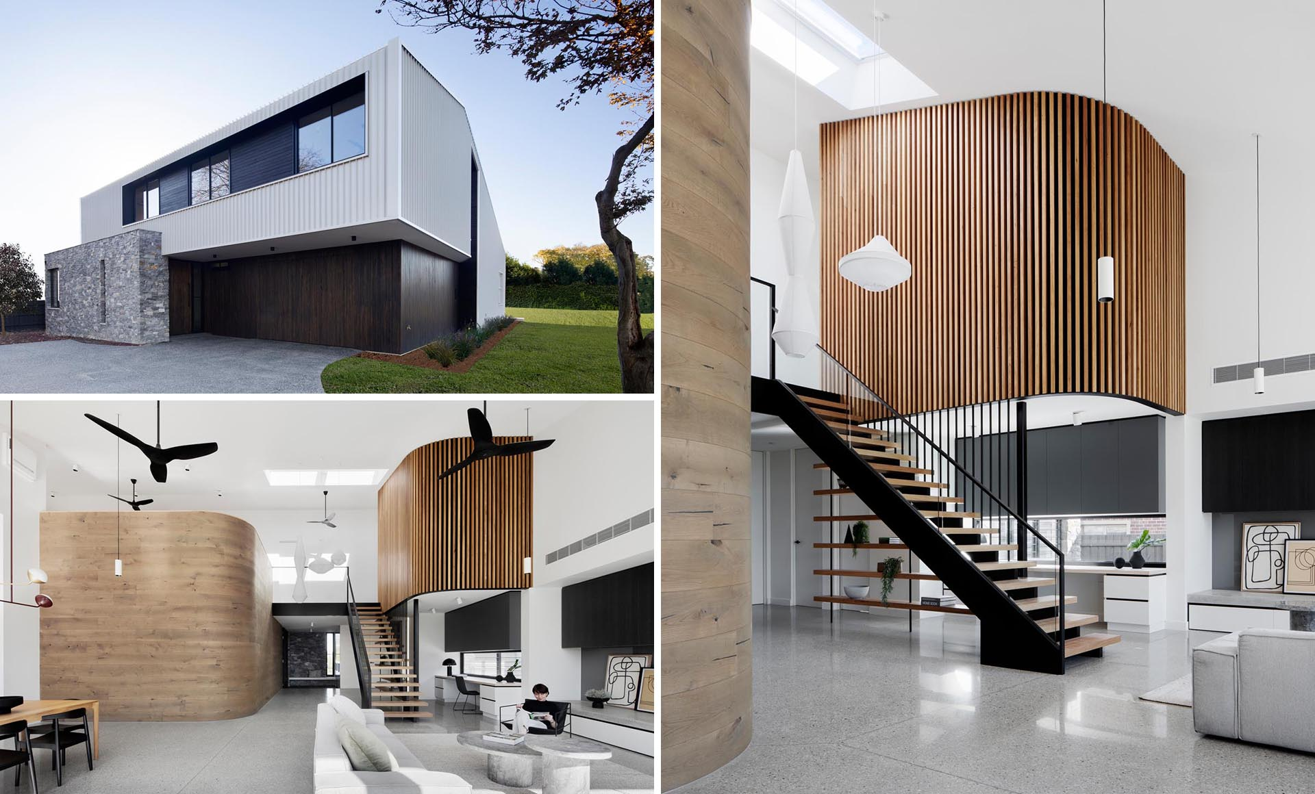 A modern home with two different curved wood accent walls.